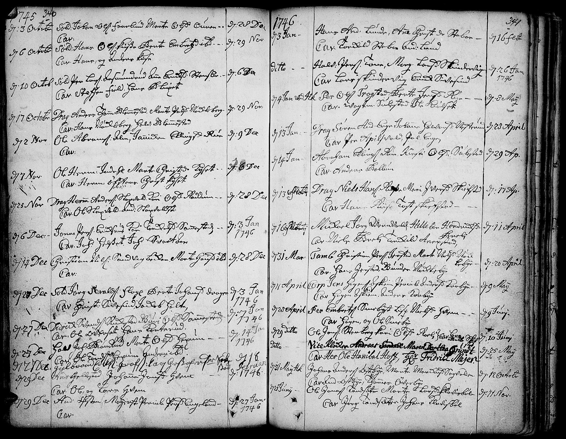 SAH, Toten prestekontor, Ministerialbok nr. 3, 1734-1751, s. 340-341