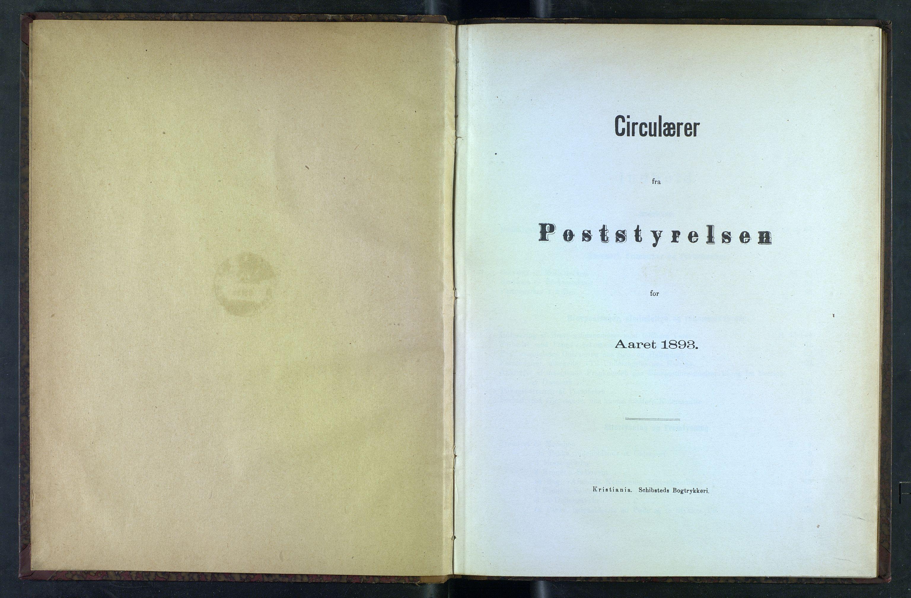 NOPO, Norges Postmuseums bibliotek, -/-: Sirkulærer fra Poststyrelsen, 1893