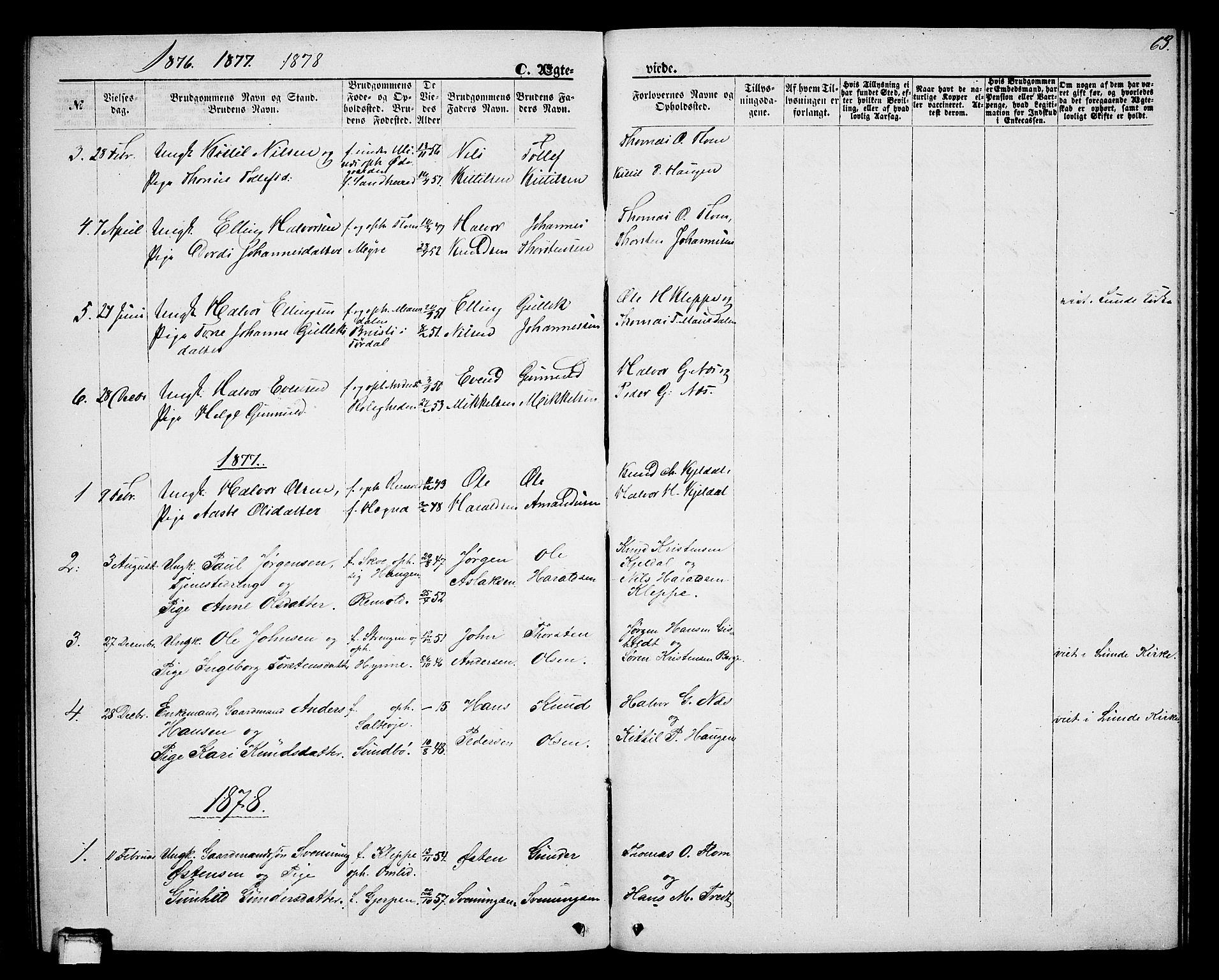 SAKO, Lunde kirkebøker, G/Gb/L0001: Klokkerbok nr. II 1, 1866-1887, s. 63