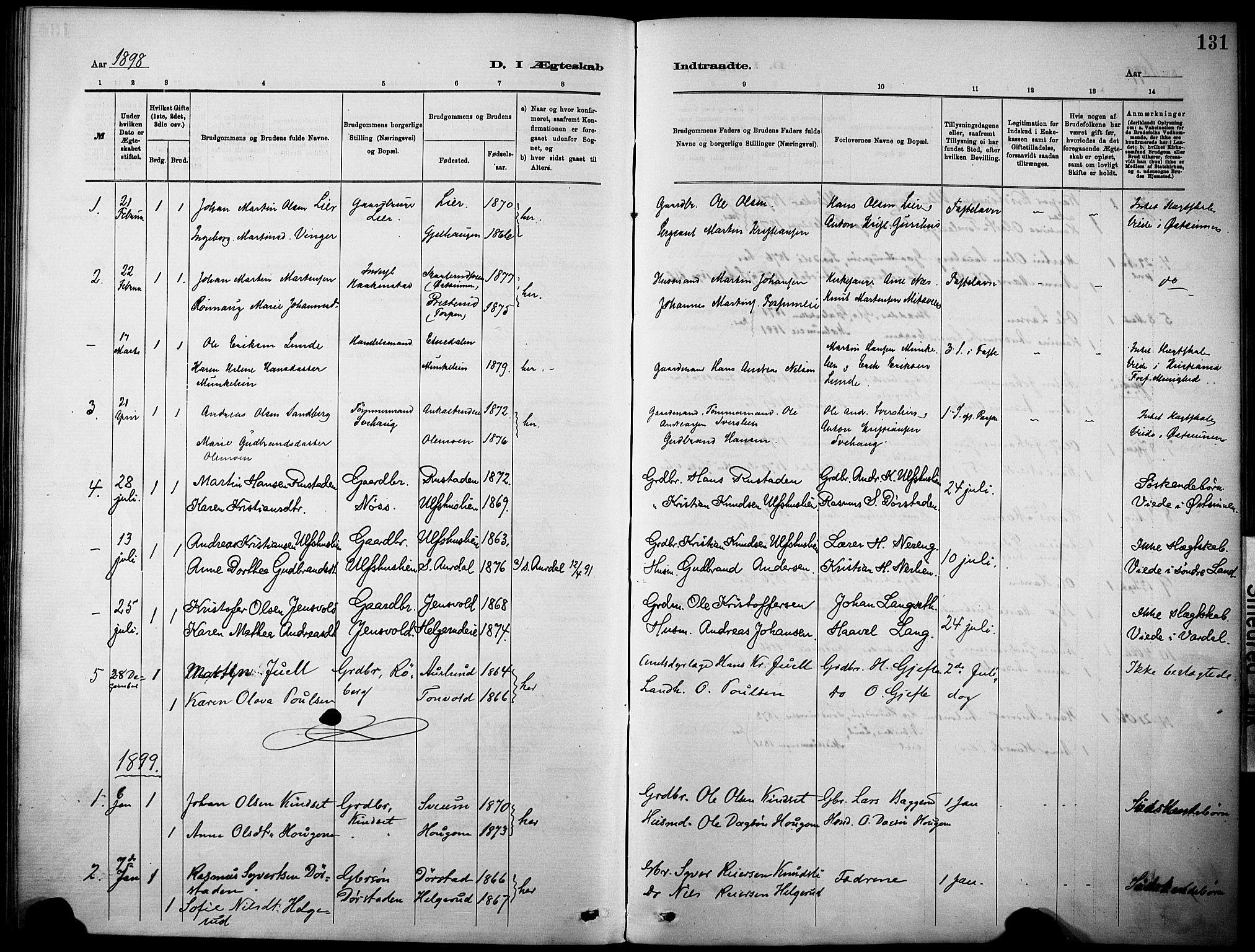 SAH, Nordre Land prestekontor, Ministerialbok nr. 5, 1882-1903, s. 131