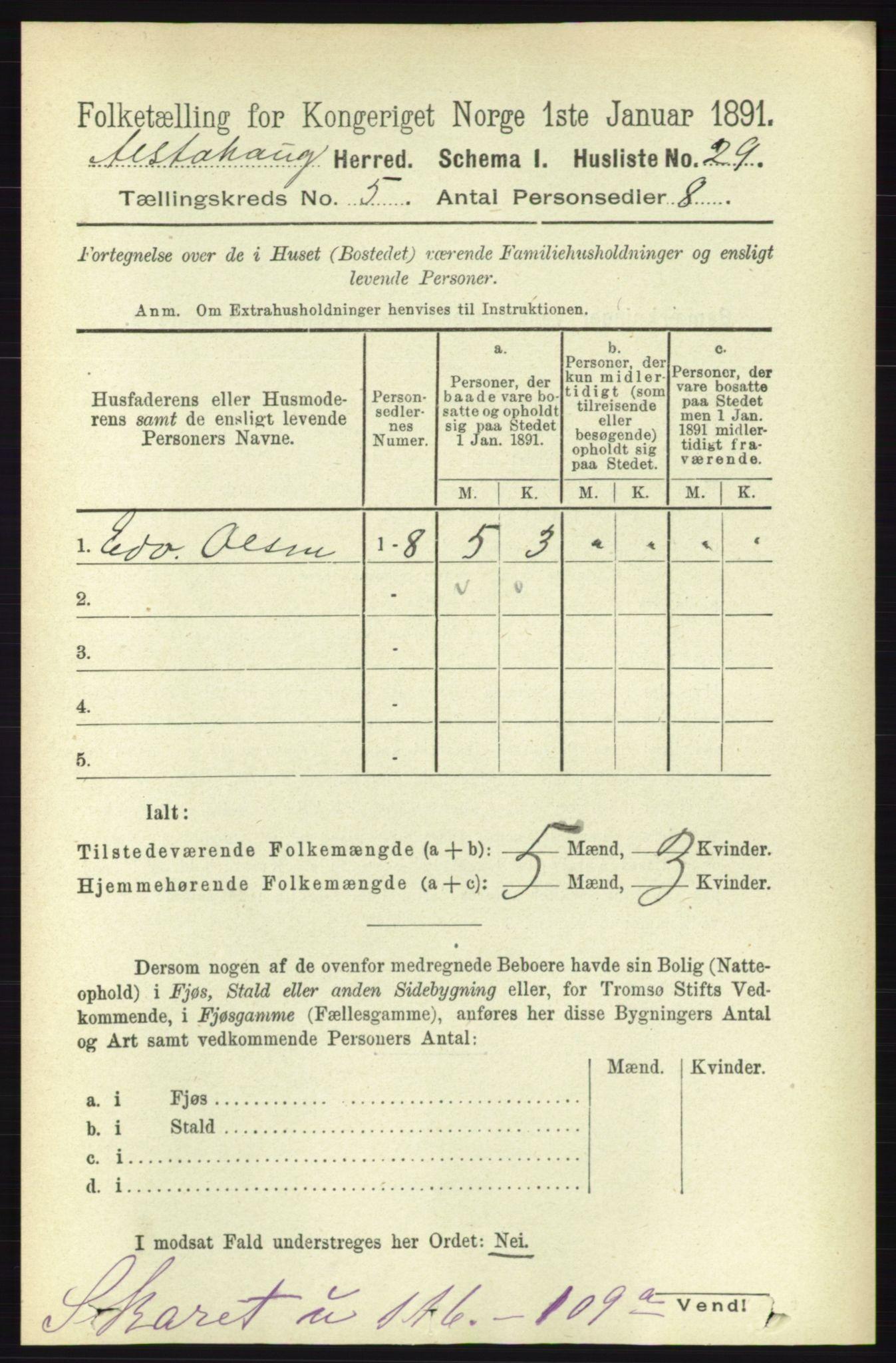 RA, Folketelling 1891 for 1820 Alstahaug herred, 1891, s. 1765