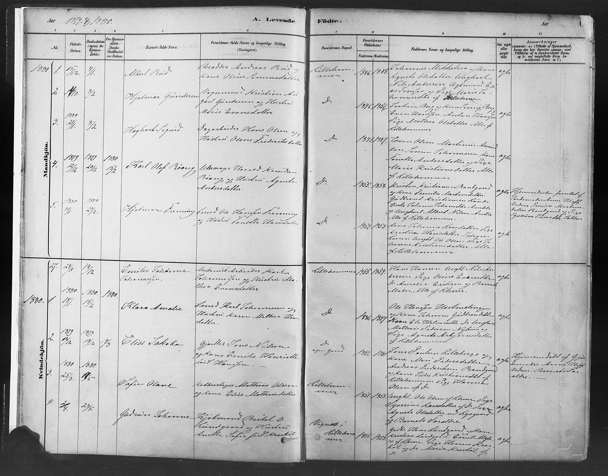 SAH, Fåberg prestekontor, Ministerialbok nr. 10, 1879-1900, s. 6
