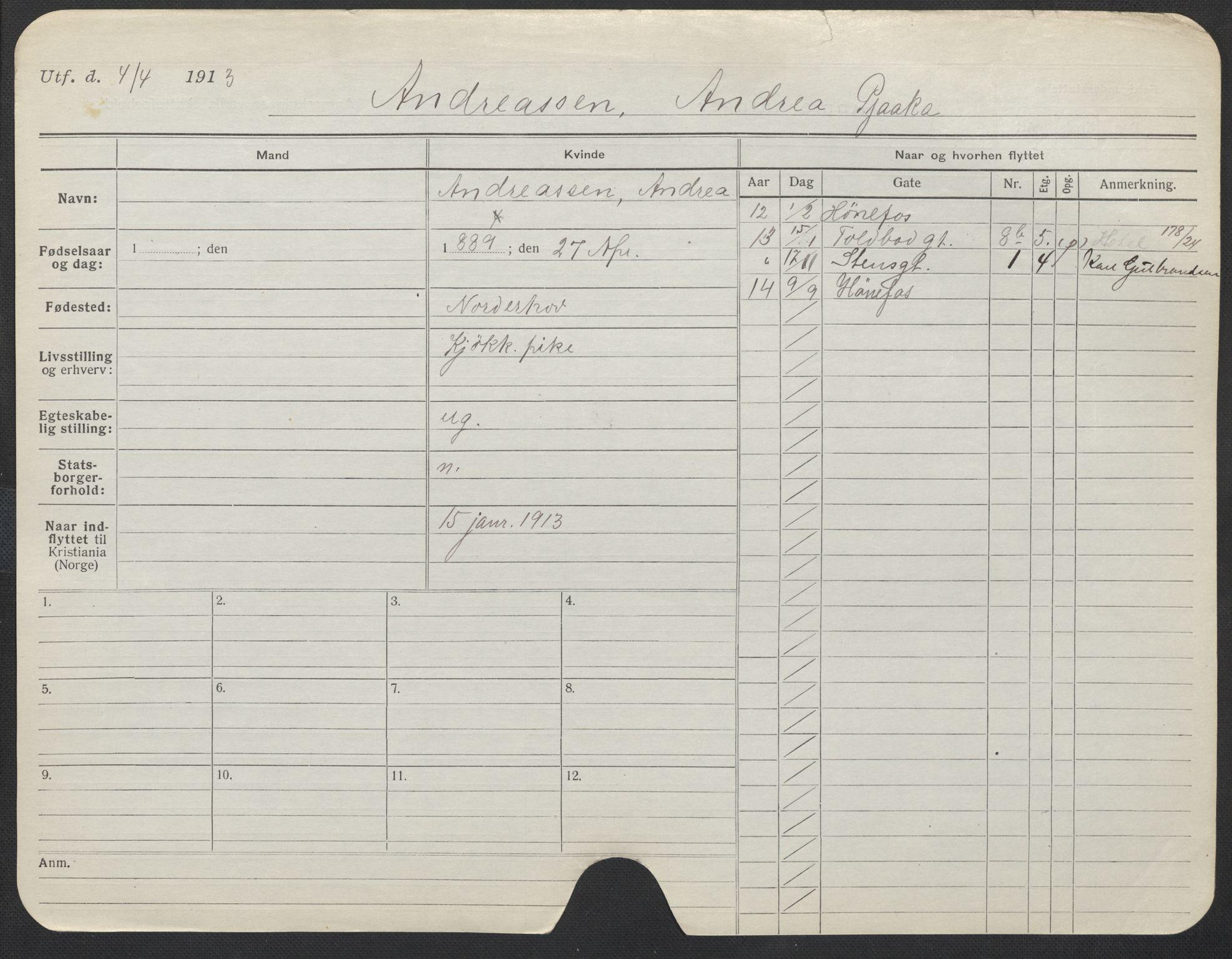 SAO, Oslo folkeregister, Registerkort, F/Fa/Fac/L0012: Kvinner, 1906-1914, s. 751a