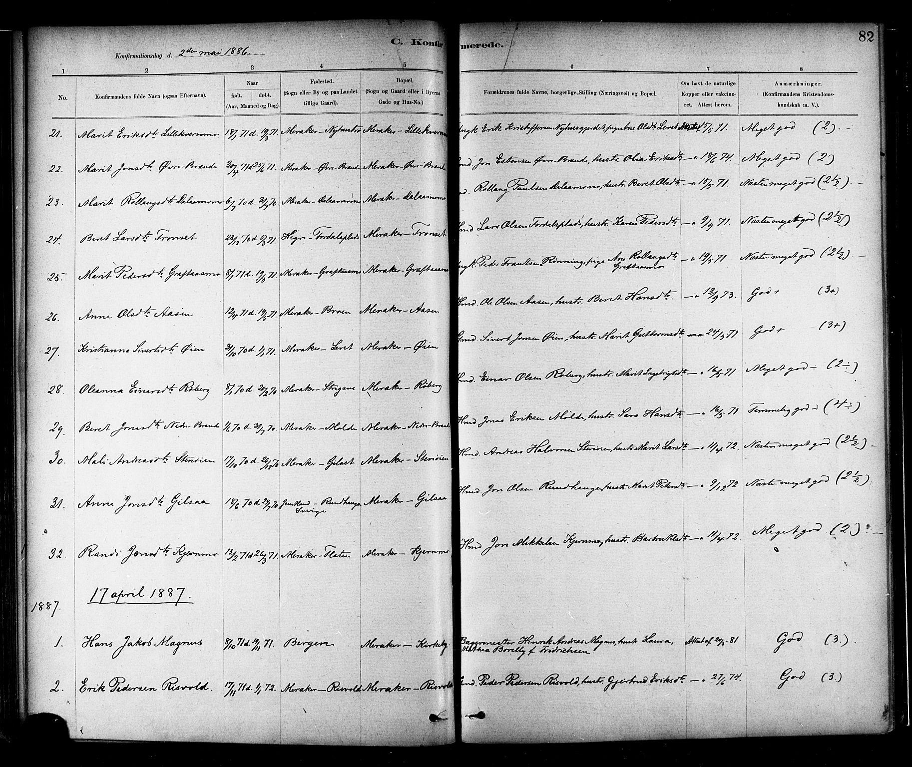 SAT, Ministerialprotokoller, klokkerbøker og fødselsregistre - Nord-Trøndelag, 706/L0047: Ministerialbok nr. 706A03, 1878-1892, s. 82