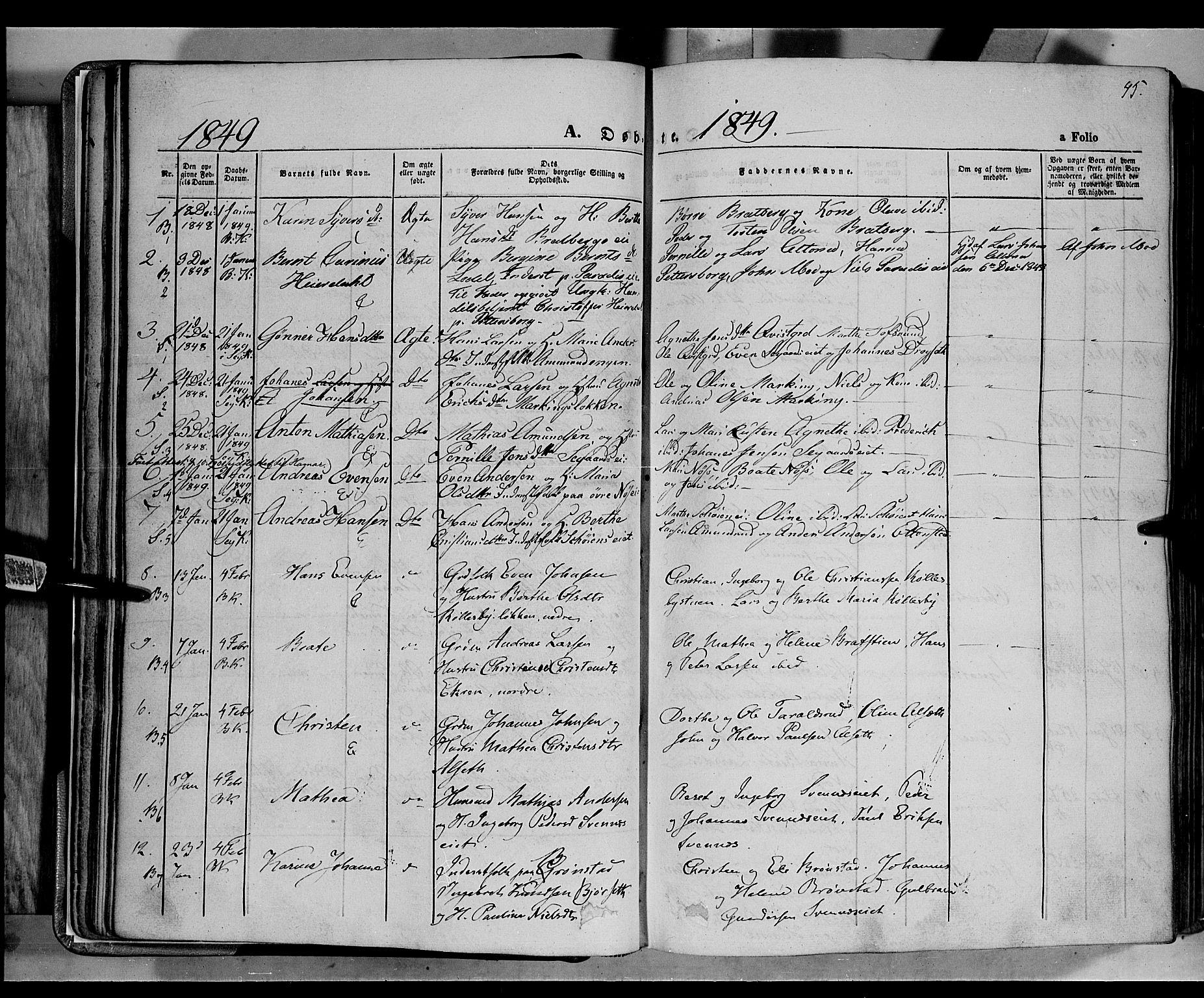 SAH, Biri prestekontor, Ministerialbok nr. 5, 1843-1854, s. 45