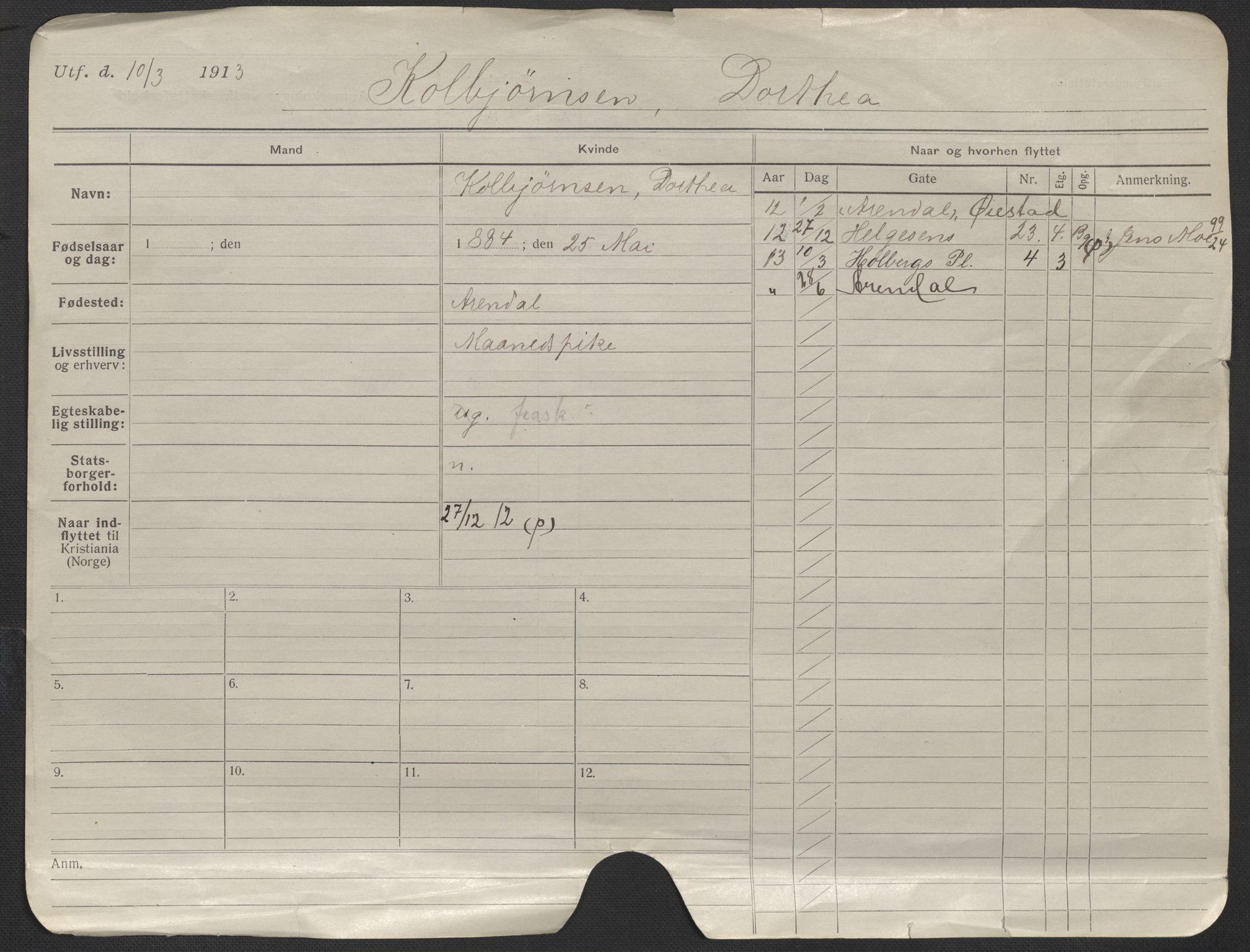 SAO, Oslo folkeregister, Registerkort, F/Fa/Fac/L0019: Kvinner, 1906-1914, s. 1a