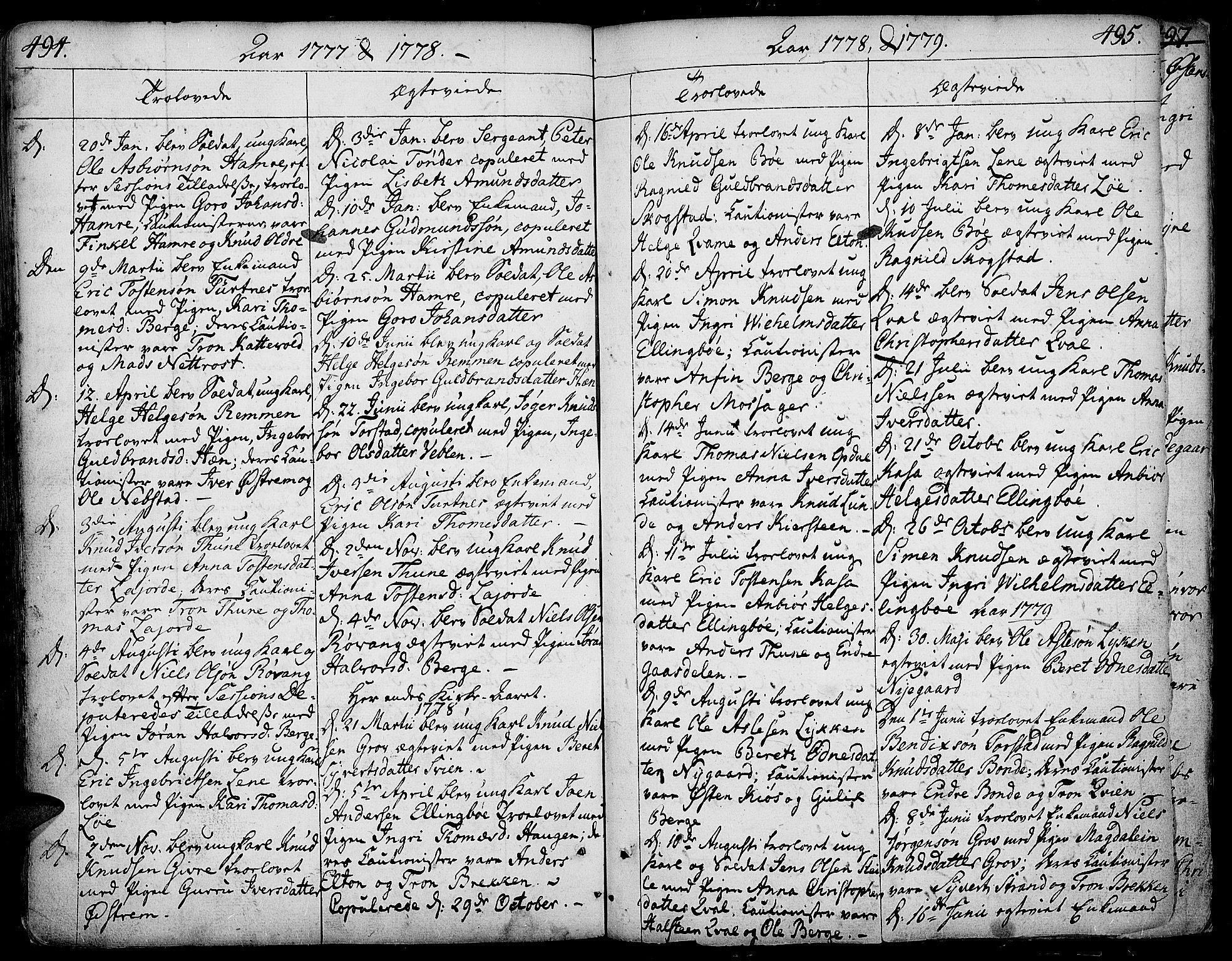 SAH, Vang prestekontor, Valdres, Ministerialbok nr. 1, 1730-1796, s. 494-495