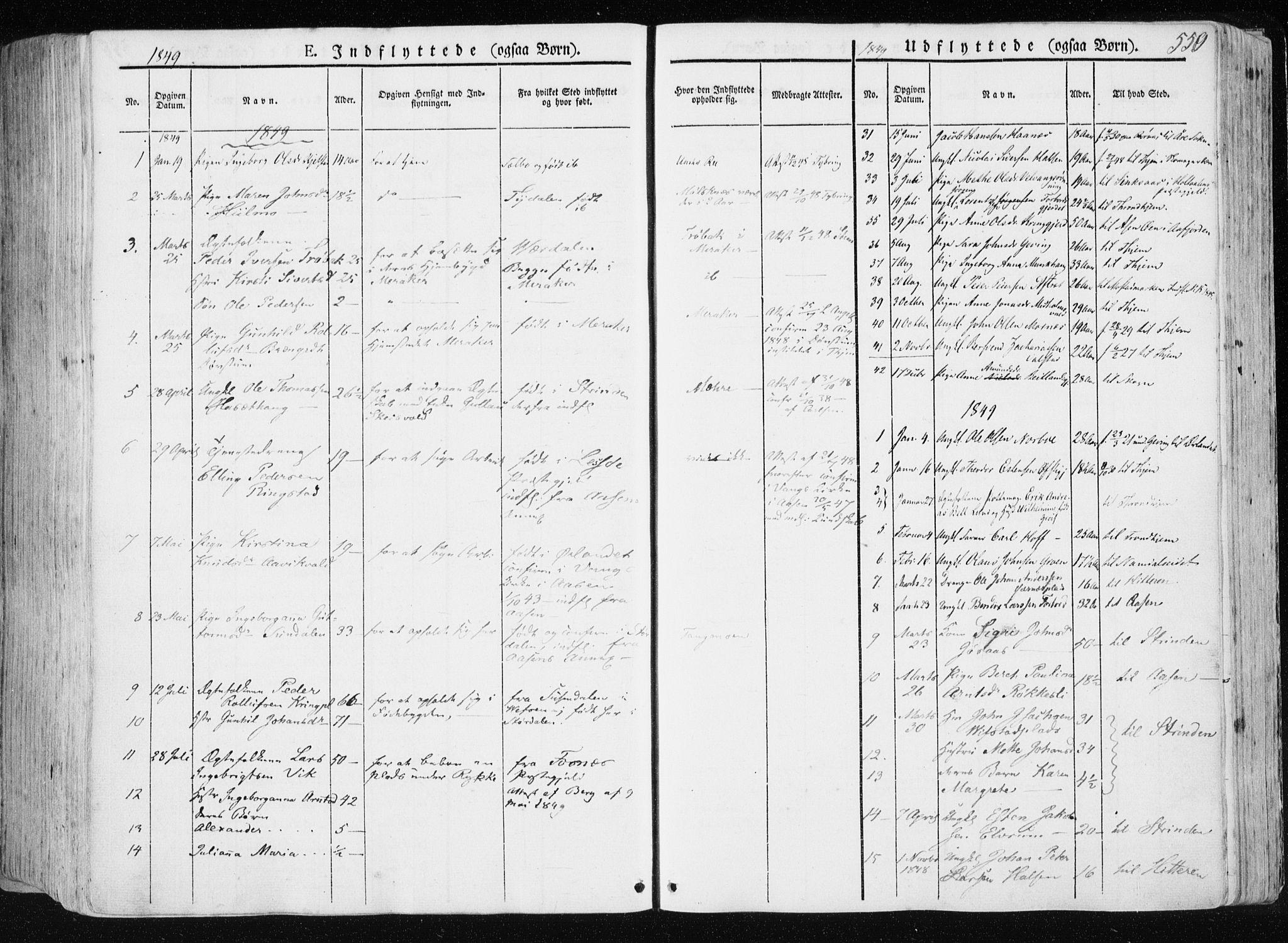 SAT, Ministerialprotokoller, klokkerbøker og fødselsregistre - Nord-Trøndelag, 709/L0074: Ministerialbok nr. 709A14, 1845-1858, s. 550