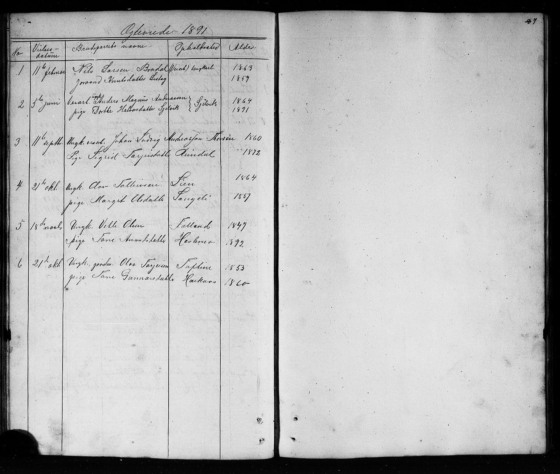 SAKO, Mo kirkebøker, G/Ga/L0001: Klokkerbok nr. I 1, 1851-1891, s. 87