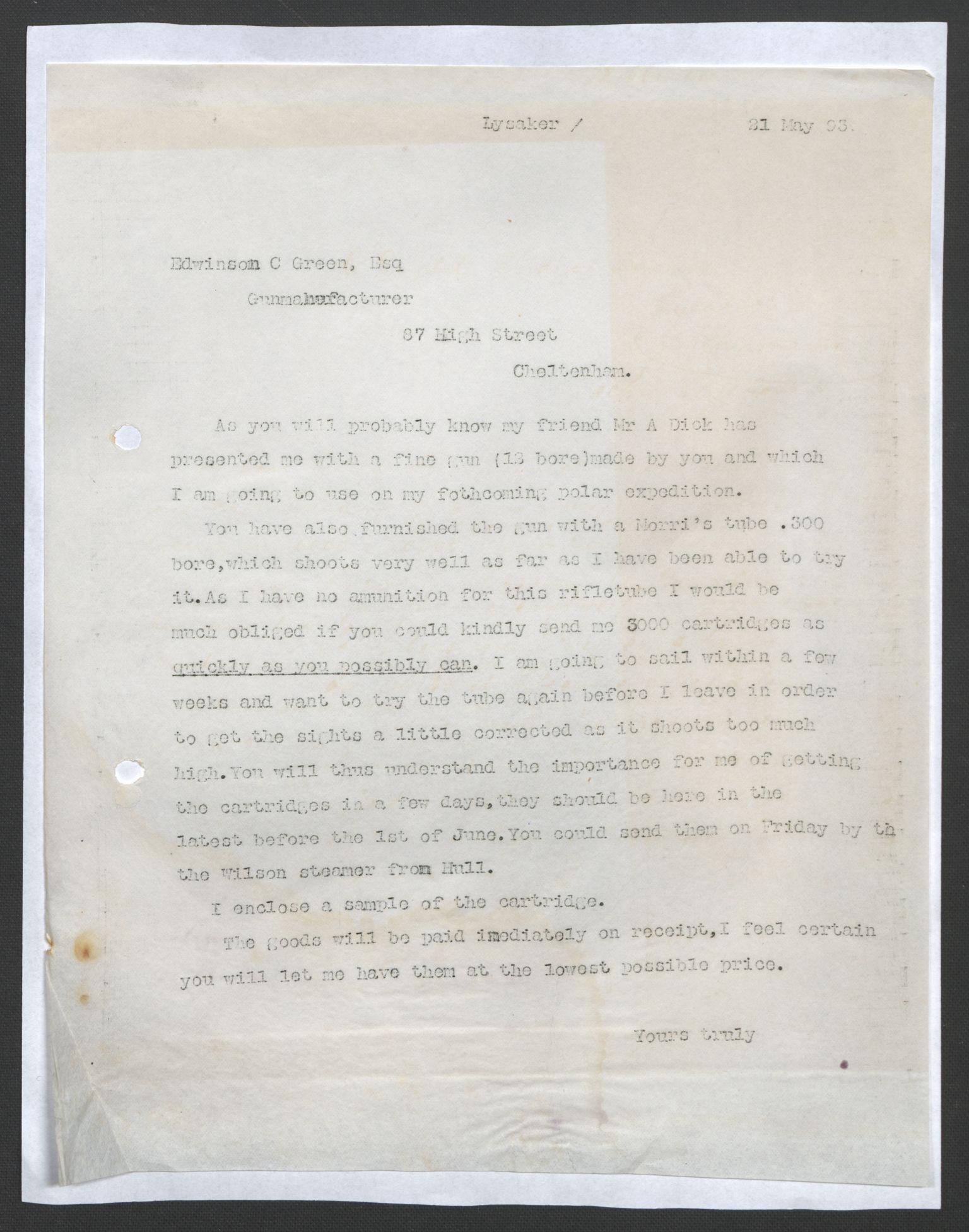 RA, Arbeidskomitéen for Fridtjof Nansens polarekspedisjon, D/L0003: Innk. brev og telegrammer vedr. proviant og utrustning, 1893, s. 174