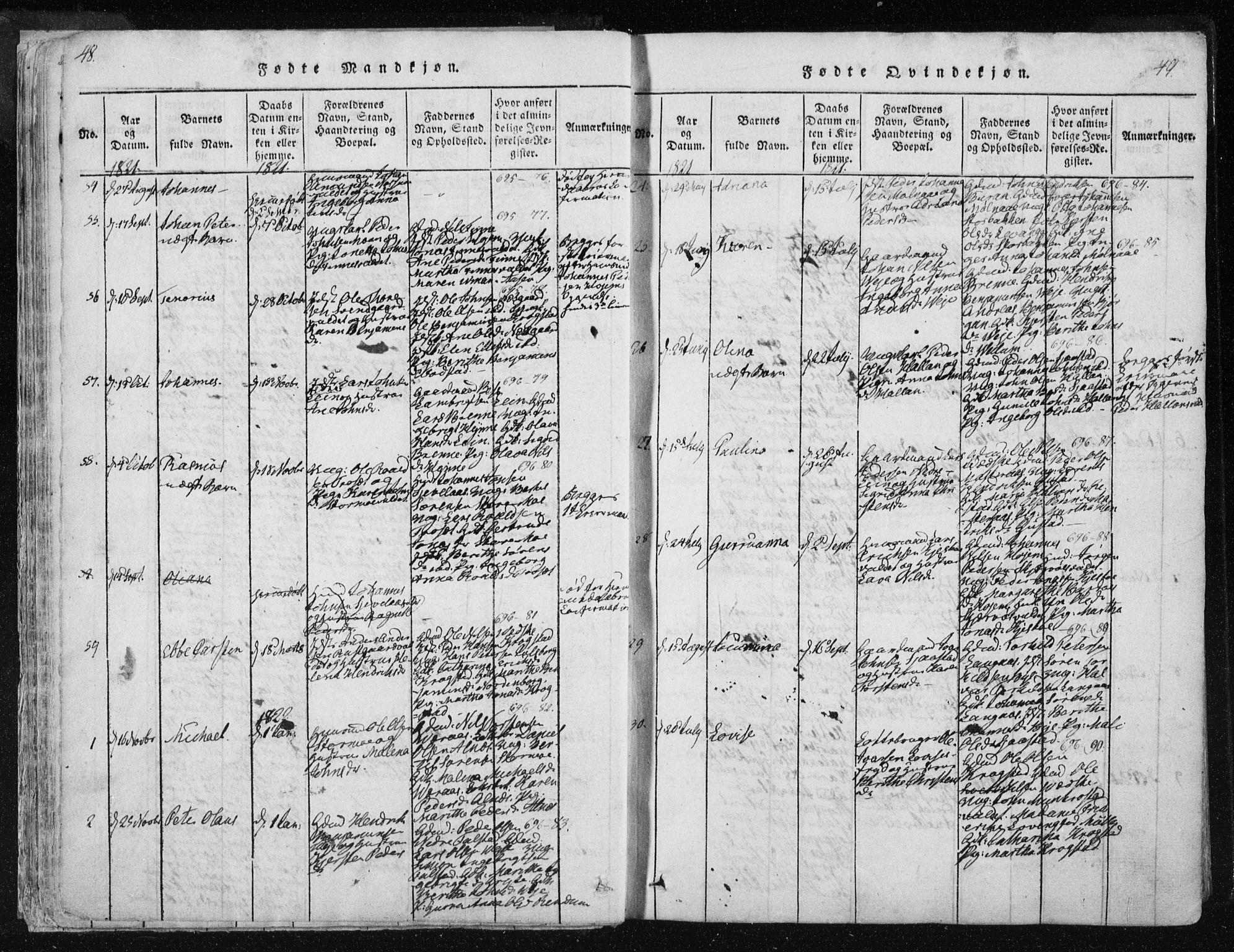 SAT, Ministerialprotokoller, klokkerbøker og fødselsregistre - Nord-Trøndelag, 717/L0148: Ministerialbok nr. 717A04 /1, 1816-1825, s. 48-49