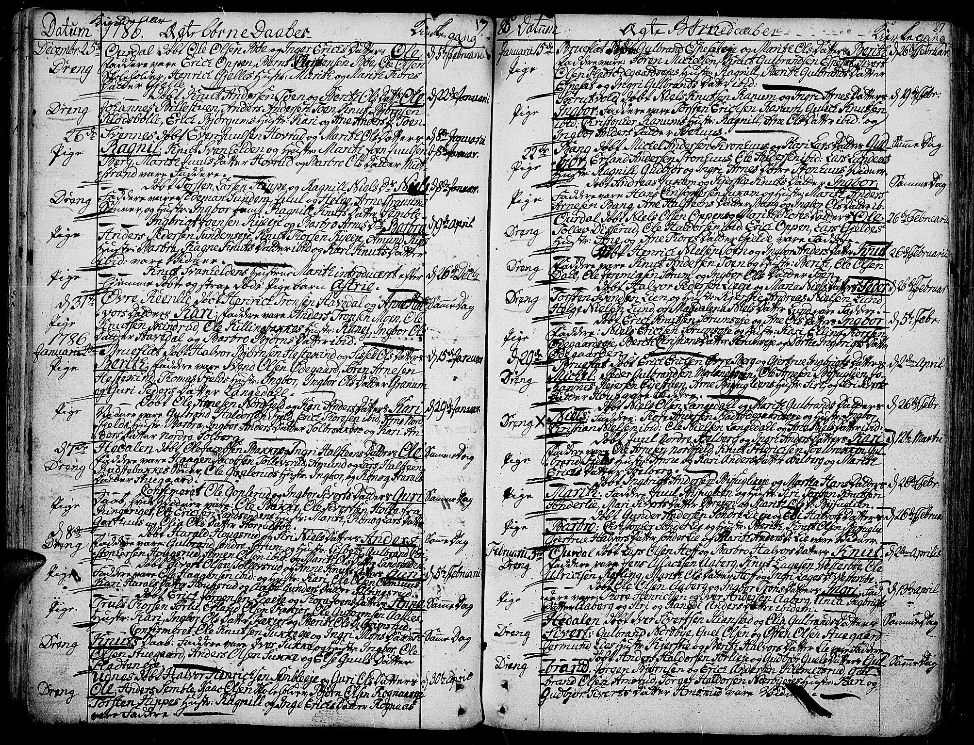 SAH, Aurdal prestekontor, Ministerialbok nr. 6, 1781-1804, s. 27