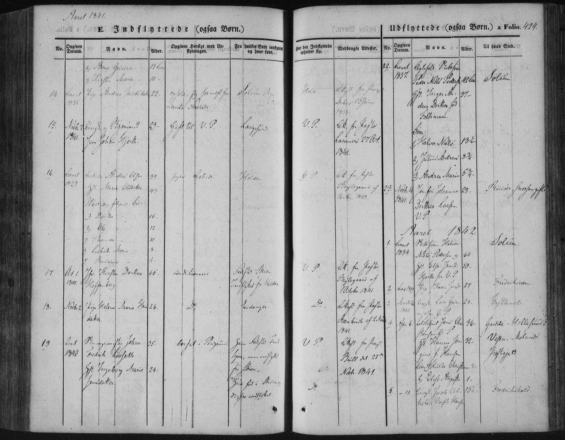 SAKO, Porsgrunn kirkebøker , F/Fa/L0006: Ministerialbok nr. 6, 1841-1857, s. 424