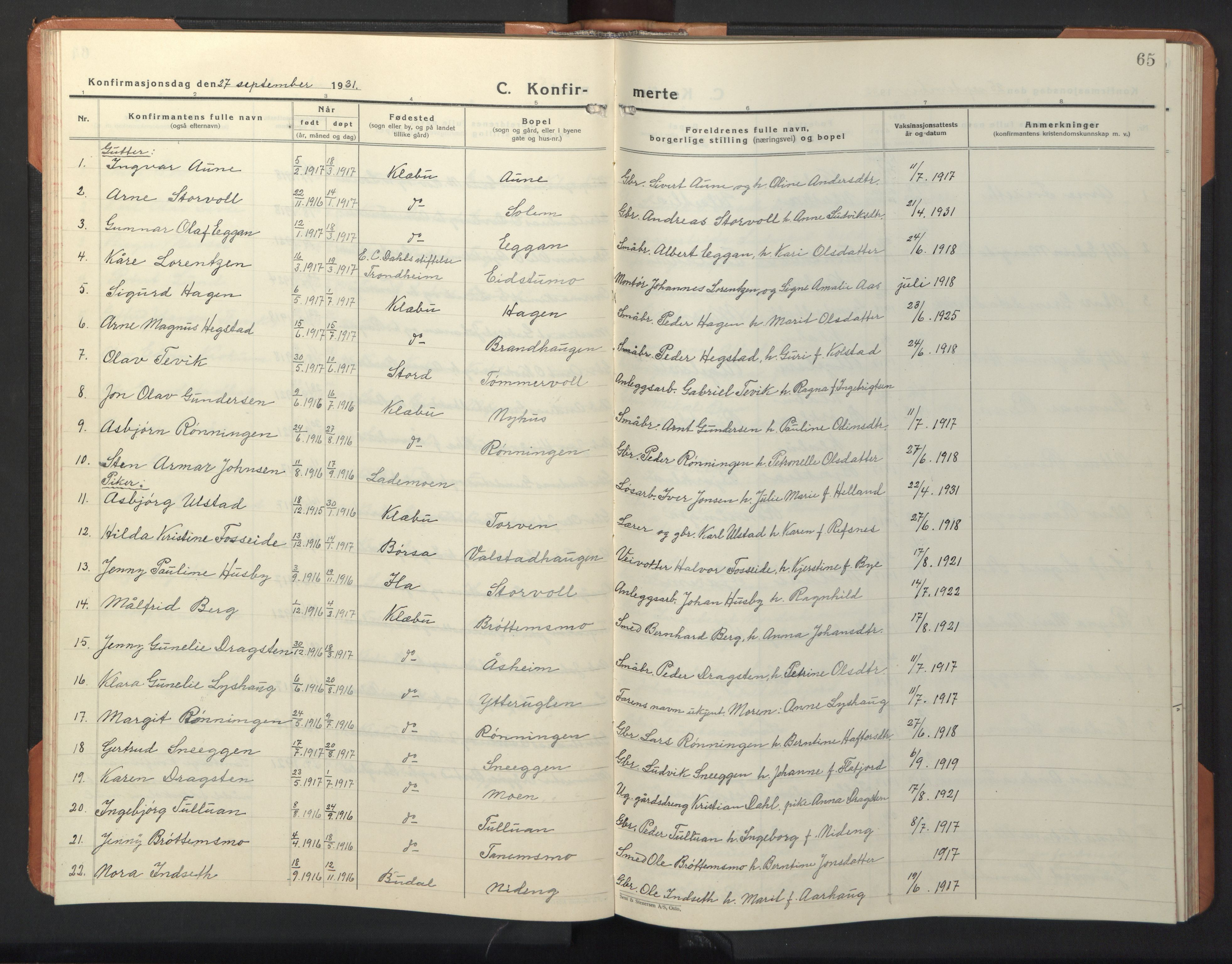 SAT, Ministerialprotokoller, klokkerbøker og fødselsregistre - Sør-Trøndelag, 618/L0454: Klokkerbok nr. 618C05, 1926-1946, s. 65