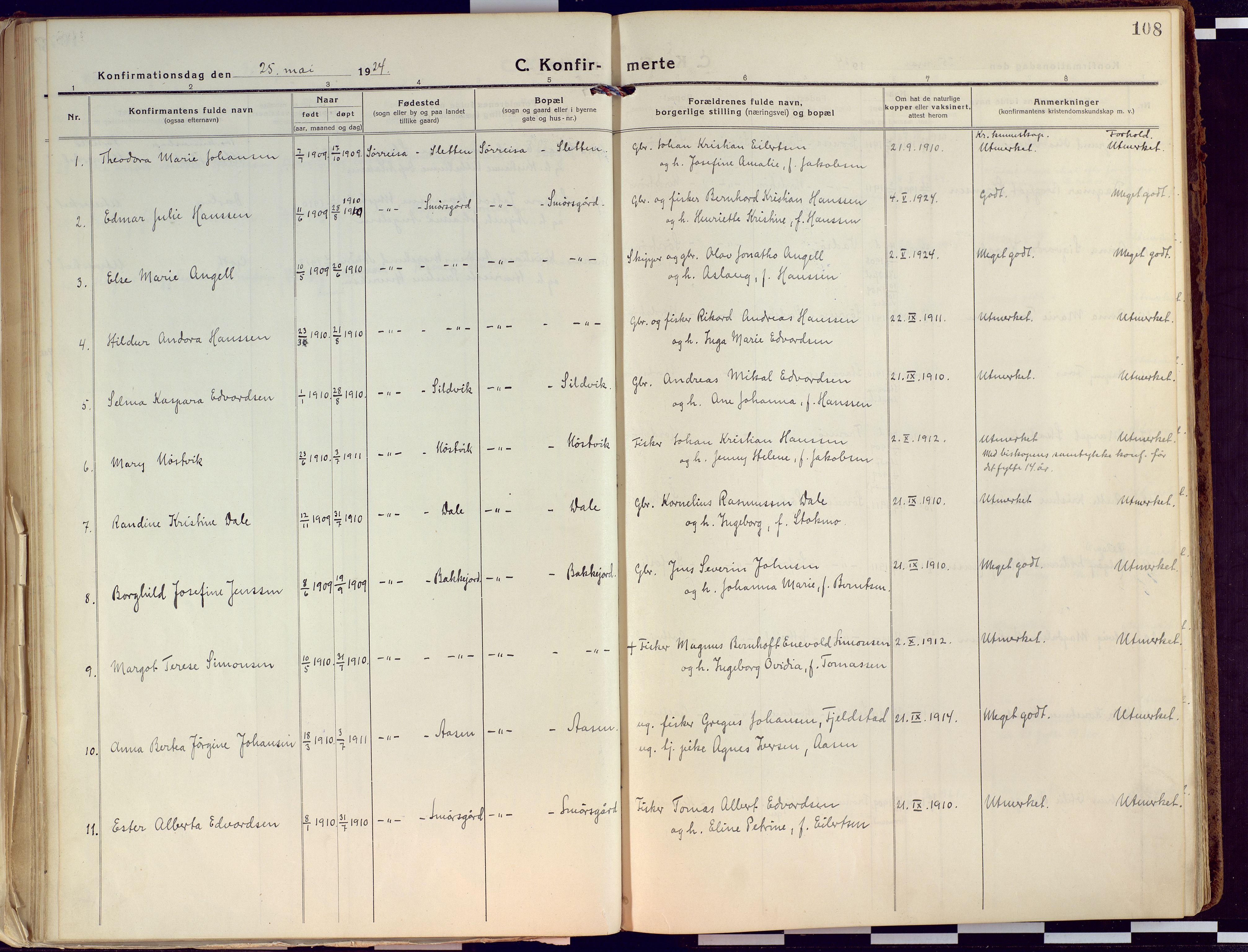SATØ, Tranøy sokneprestkontor, I/Ia/Iaa/L0015kirke: Ministerialbok nr. 15, 1919-1928, s. 108