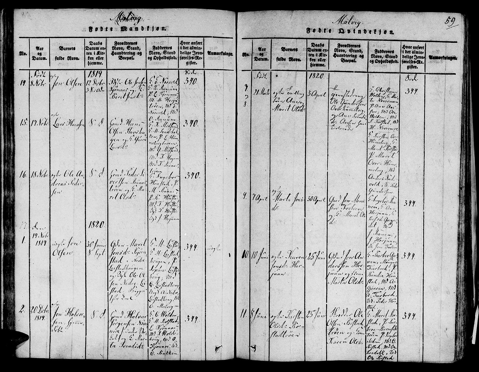 SAT, Ministerialprotokoller, klokkerbøker og fødselsregistre - Sør-Trøndelag, 606/L0284: Ministerialbok nr. 606A03 /2, 1819-1823, s. 59