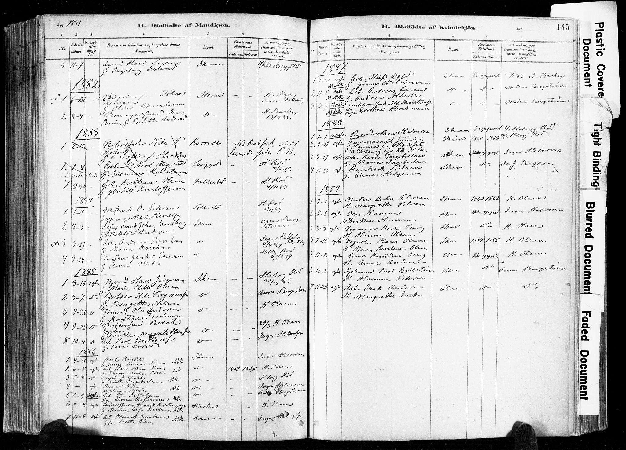 SAKO, Skien kirkebøker, F/Fa/L0009: Ministerialbok nr. 9, 1878-1890, s. 145