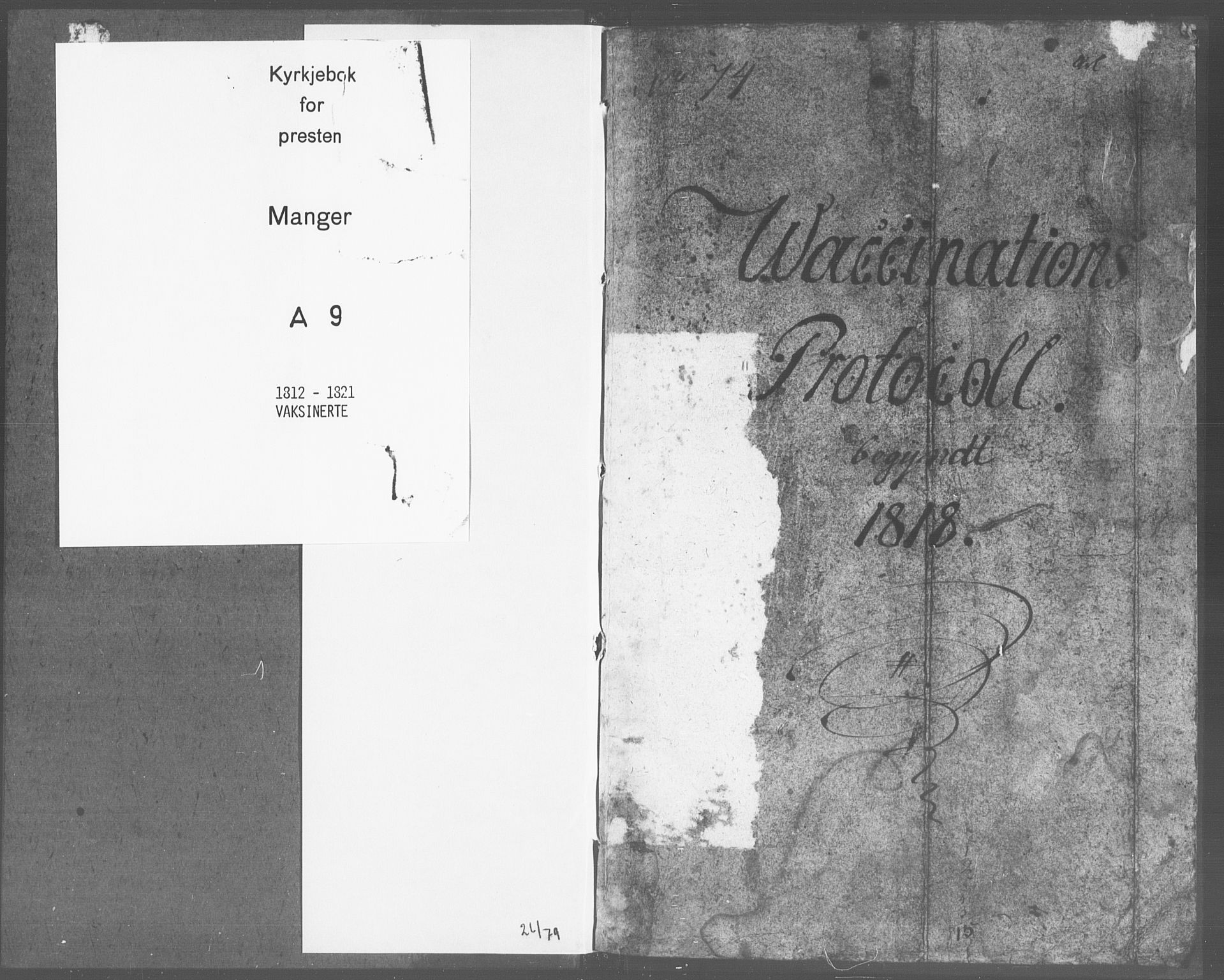 SAB, Manger sokneprestembete, H/Haa: Ministerialbok nr. A 9, 1812-1821
