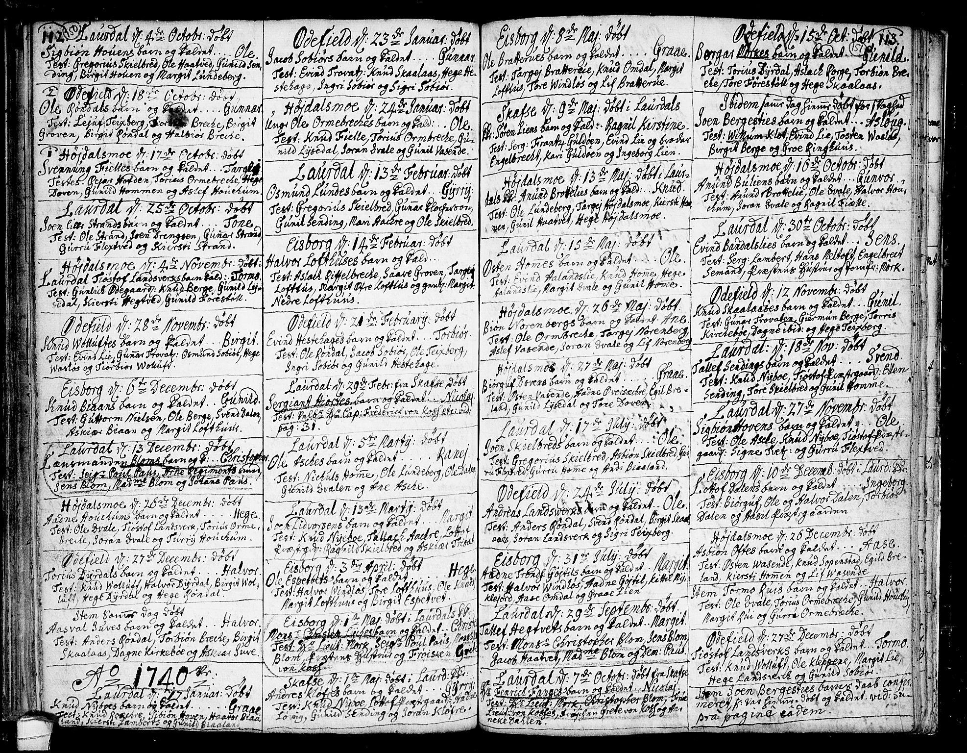 SAKO, Lårdal kirkebøker, F/Fa/L0002: Ministerialbok nr. I 2, 1734-1754, s. 150-151