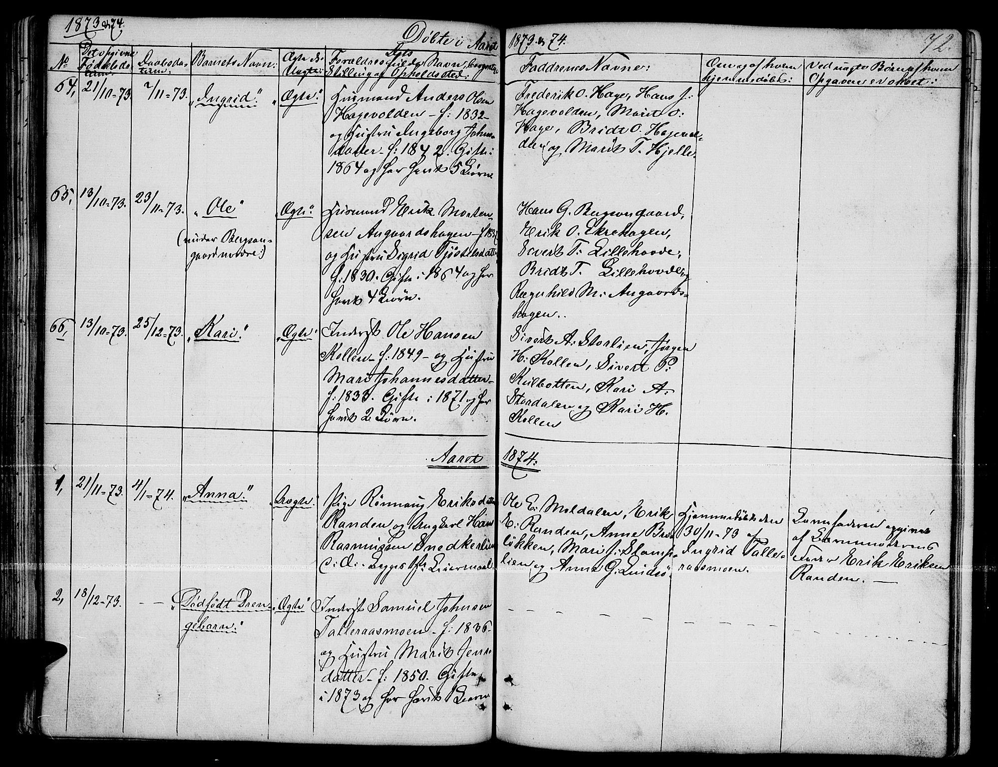 SAH, Dovre prestekontor, Klokkerbok nr. 1, 1862-1880, s. 72