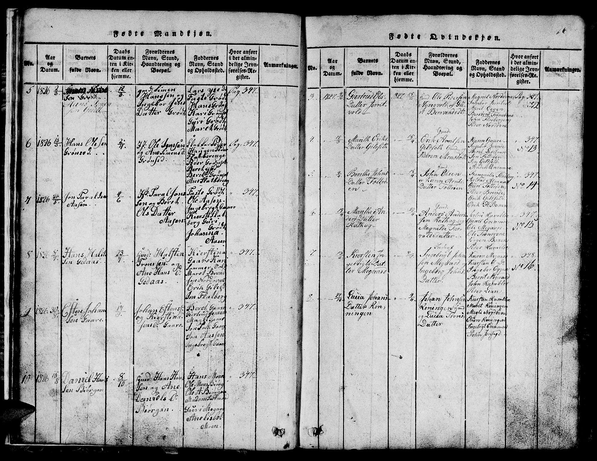 SAT, Ministerialprotokoller, klokkerbøker og fødselsregistre - Sør-Trøndelag, 685/L0976: Klokkerbok nr. 685C01, 1817-1878, s. 16