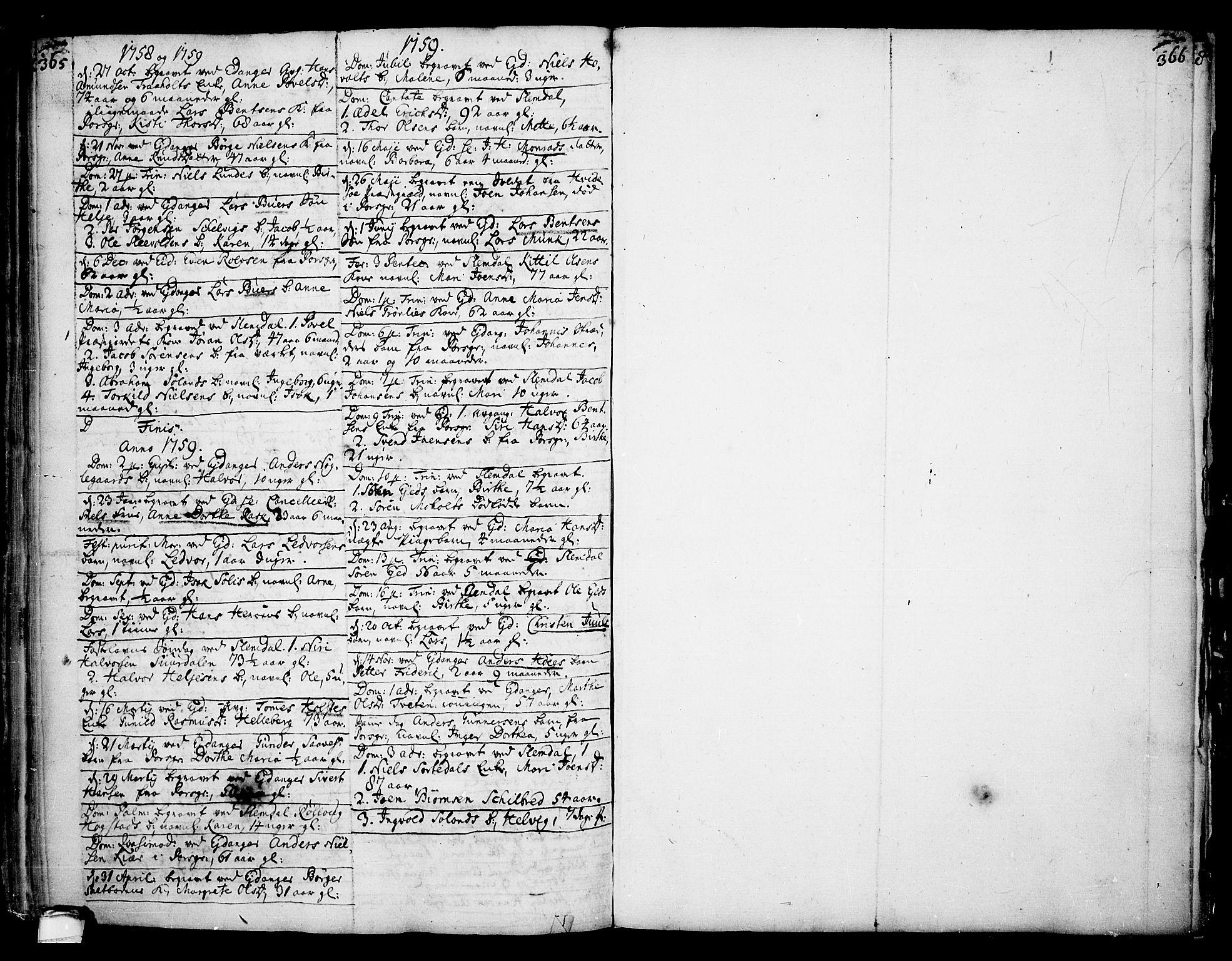 SAKO, Eidanger kirkebøker, F/Fa/L0004: Ministerialbok nr. 4, 1733-1759, s. 365-366
