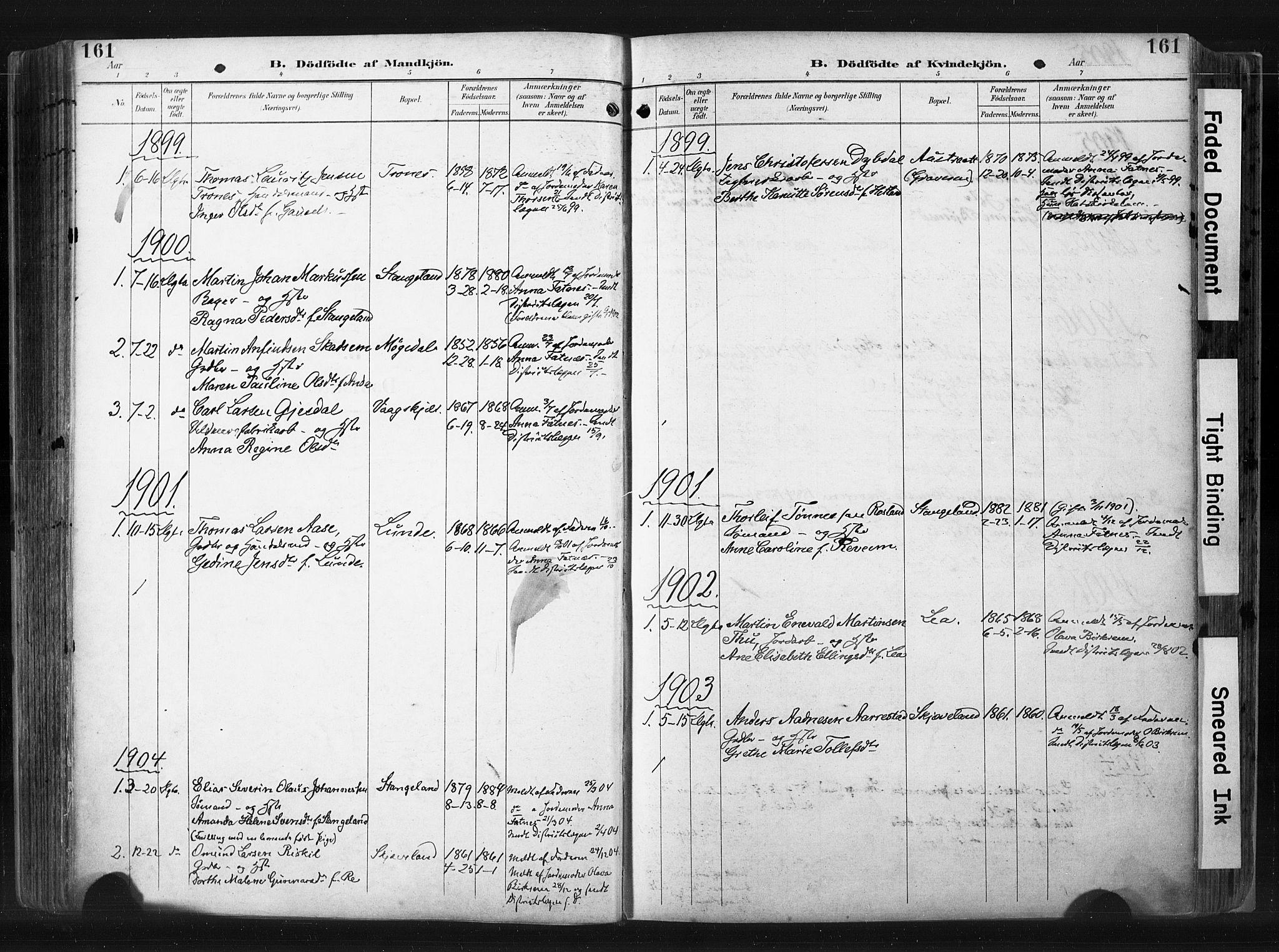 SAST, Høyland sokneprestkontor, 30BA/L0015: Ministerialbok nr. A 14, 1899-1911, s. 161