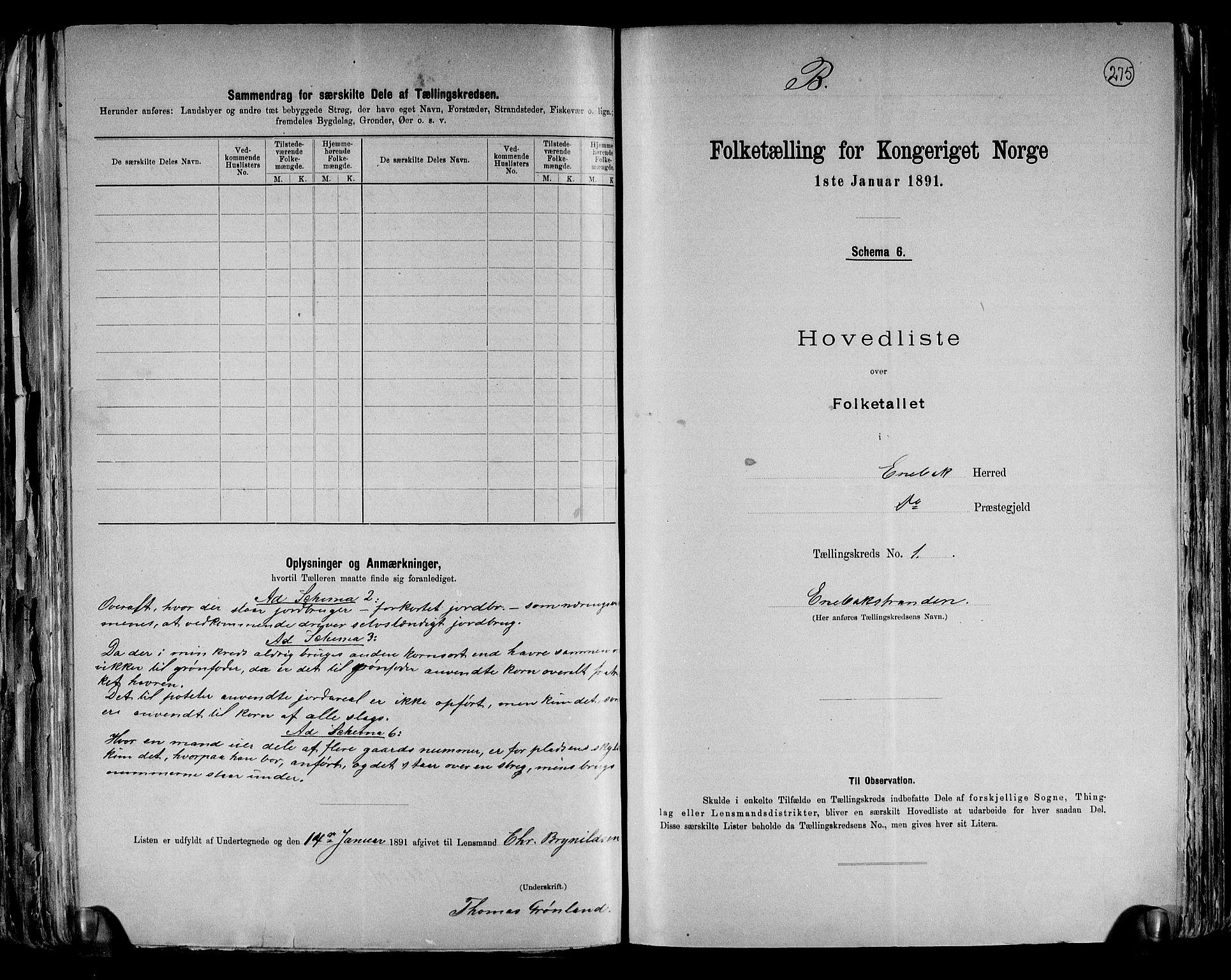 RA, Folketelling 1891 for 0229 Enebakk herred, 1891, s. 7