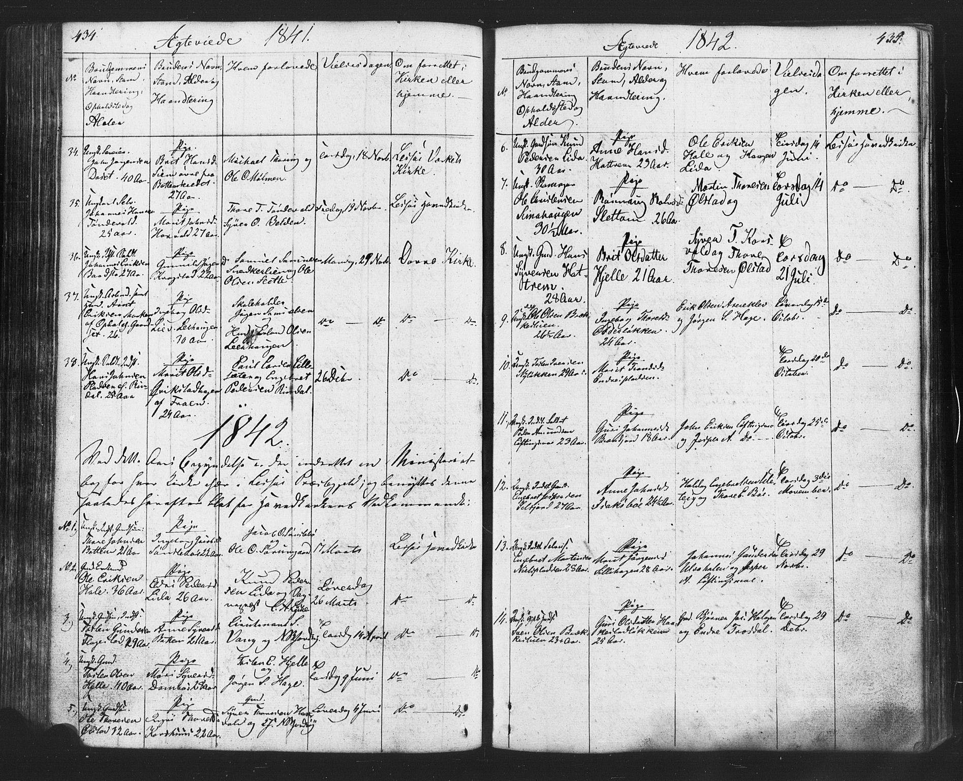 SAH, Lesja prestekontor, Klokkerbok nr. 2, 1832-1850, s. 434-435