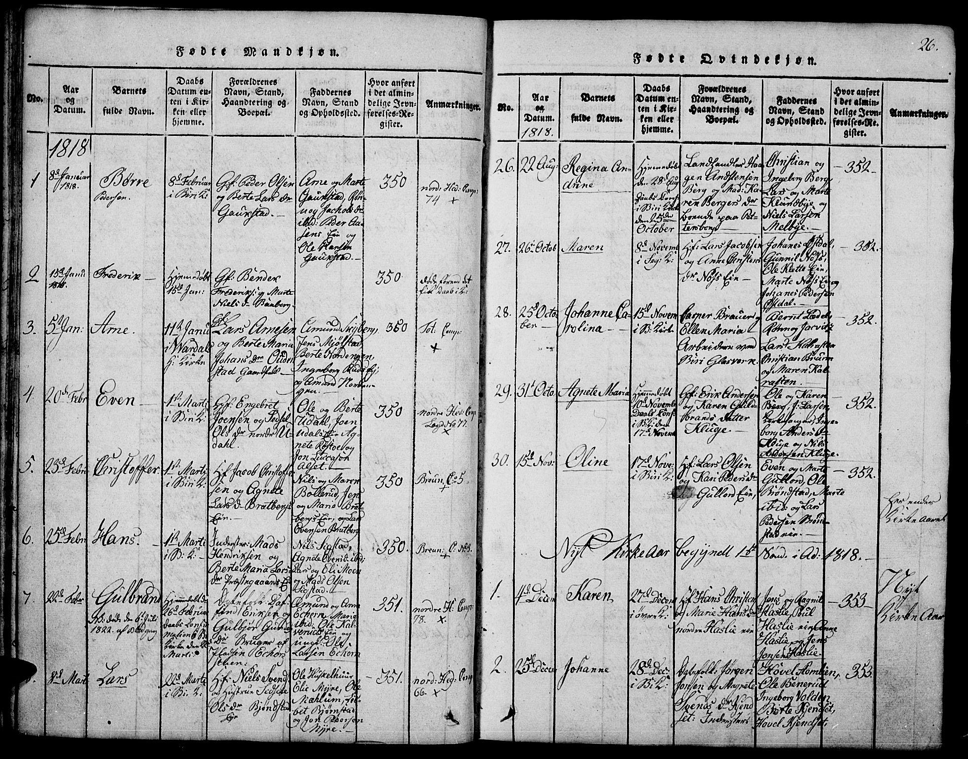 SAH, Biri prestekontor, Klokkerbok nr. 1, 1814-1828, s. 26