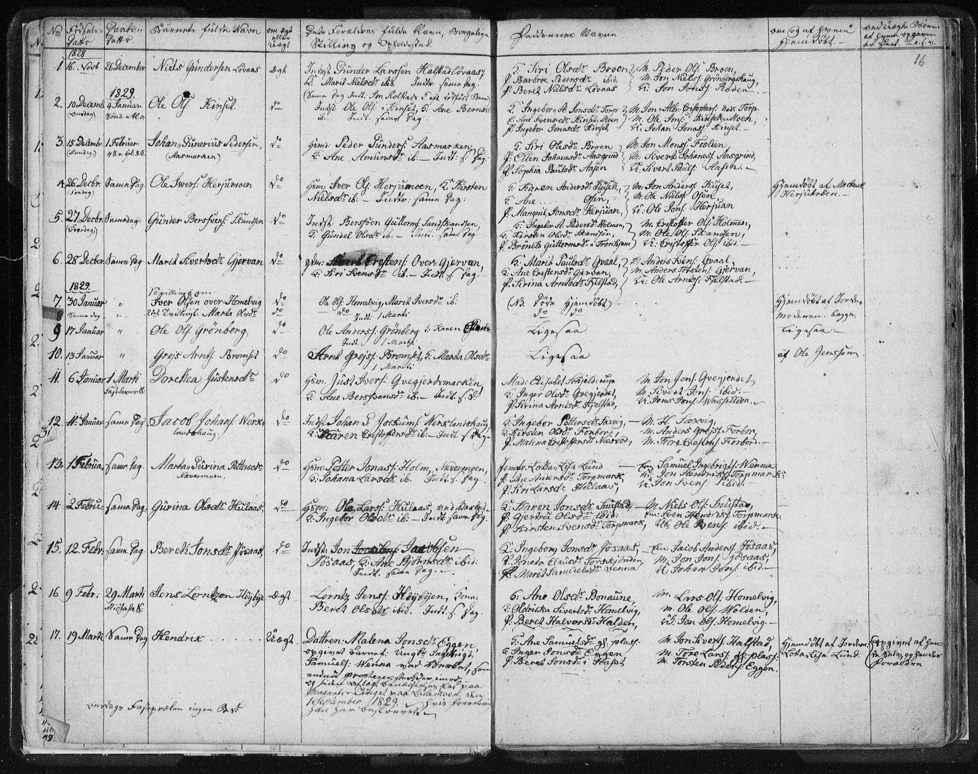 SAT, Ministerialprotokoller, klokkerbøker og fødselsregistre - Sør-Trøndelag, 616/L0404: Ministerialbok nr. 616A01, 1823-1831, s. 16