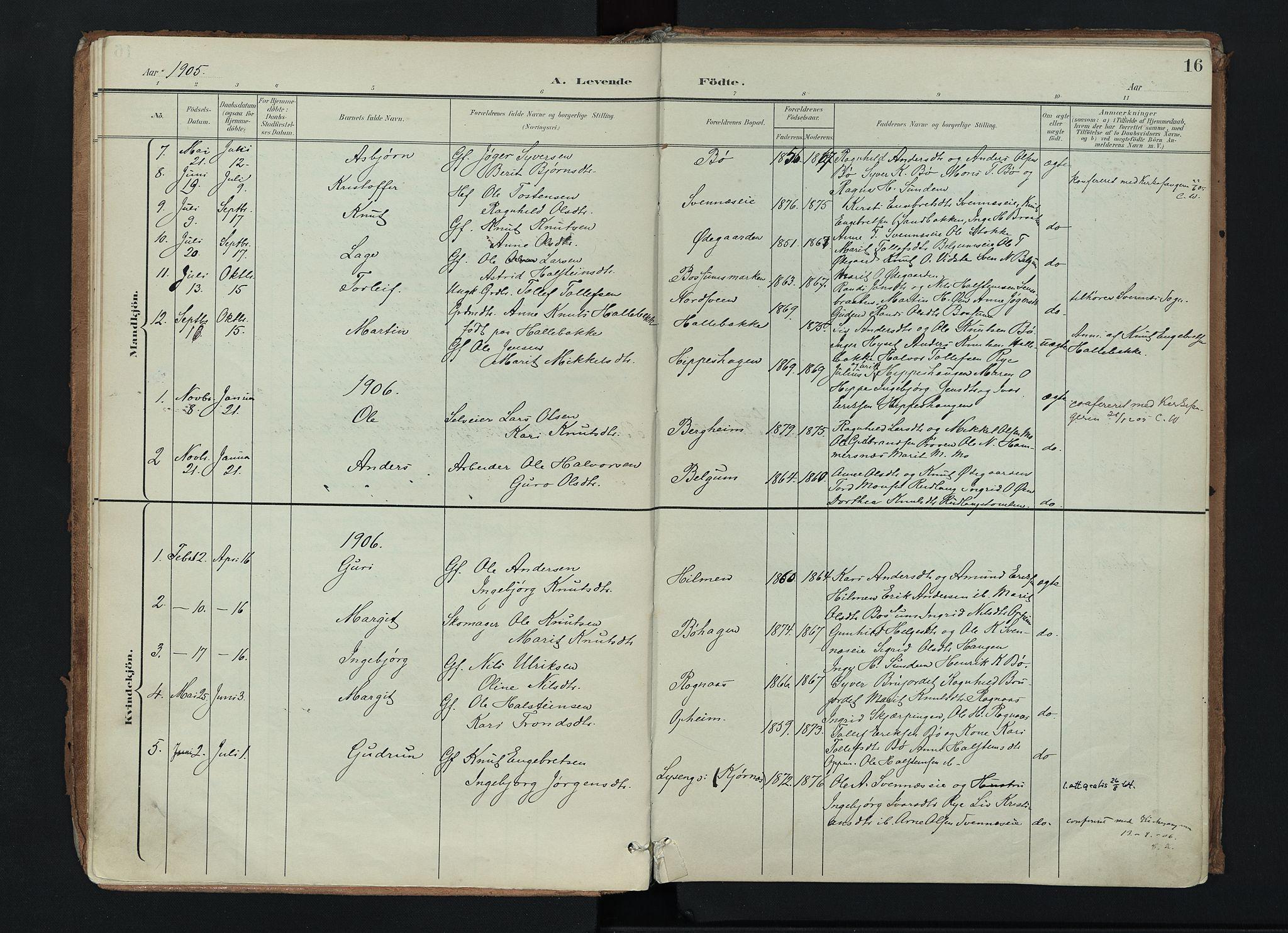 SAH, Nord-Aurdal prestekontor, Ministerialbok nr. 17, 1897-1926, s. 16