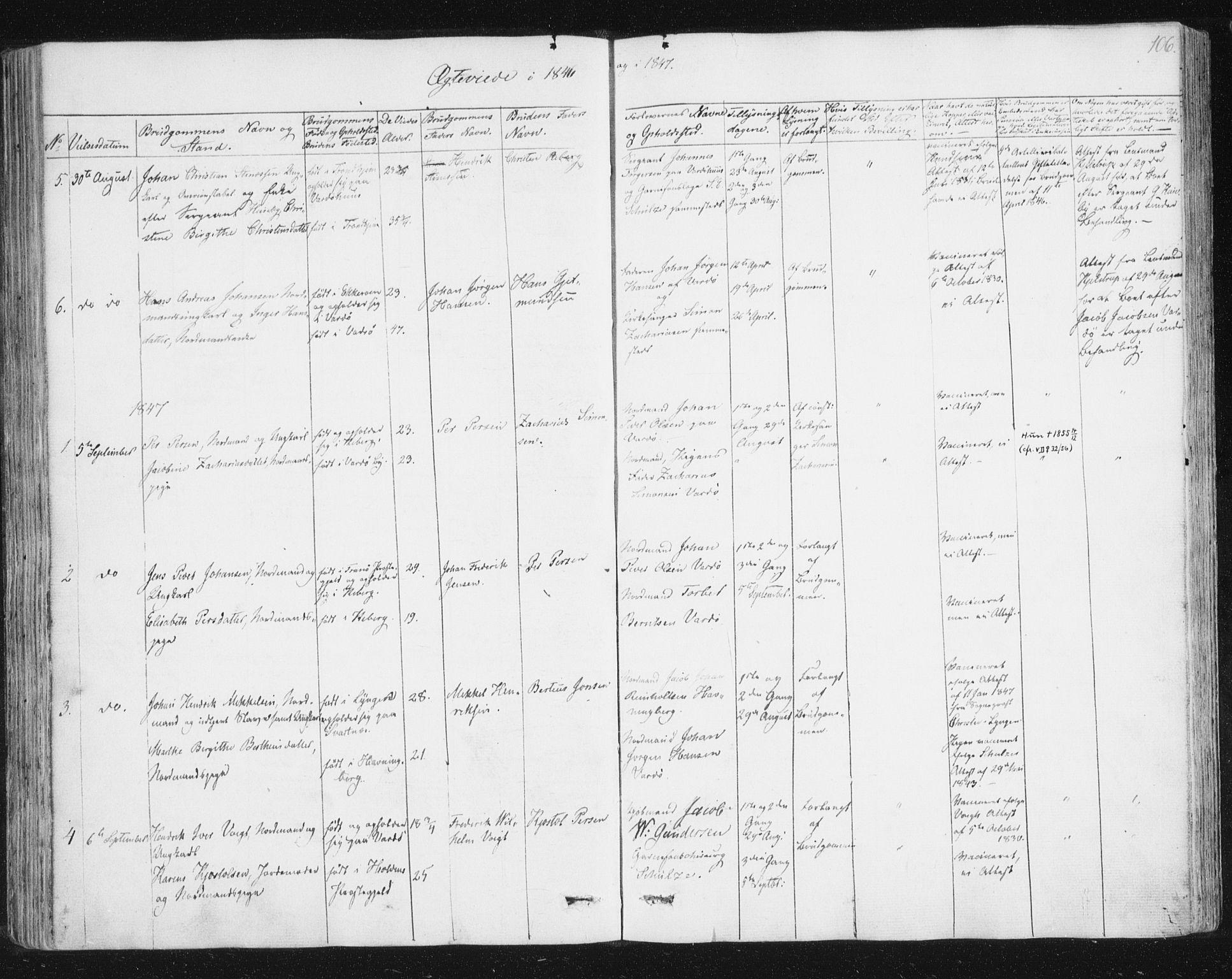 SATØ, Vardø sokneprestkontor, H/Ha/L0003kirke: Ministerialbok nr. 3, 1843-1861, s. 106