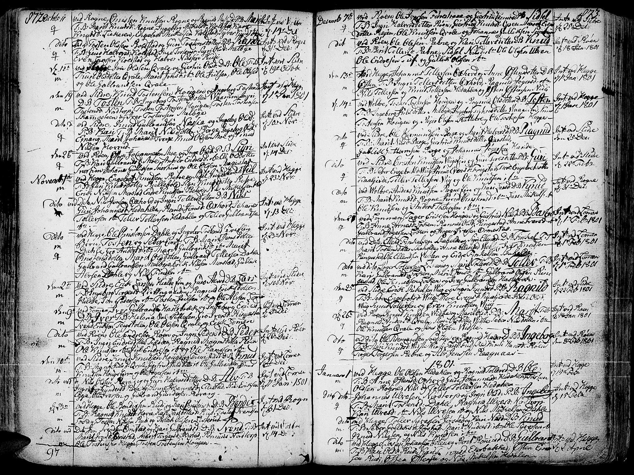 SAH, Slidre prestekontor, Ministerialbok nr. 1, 1724-1814, s. 872-873