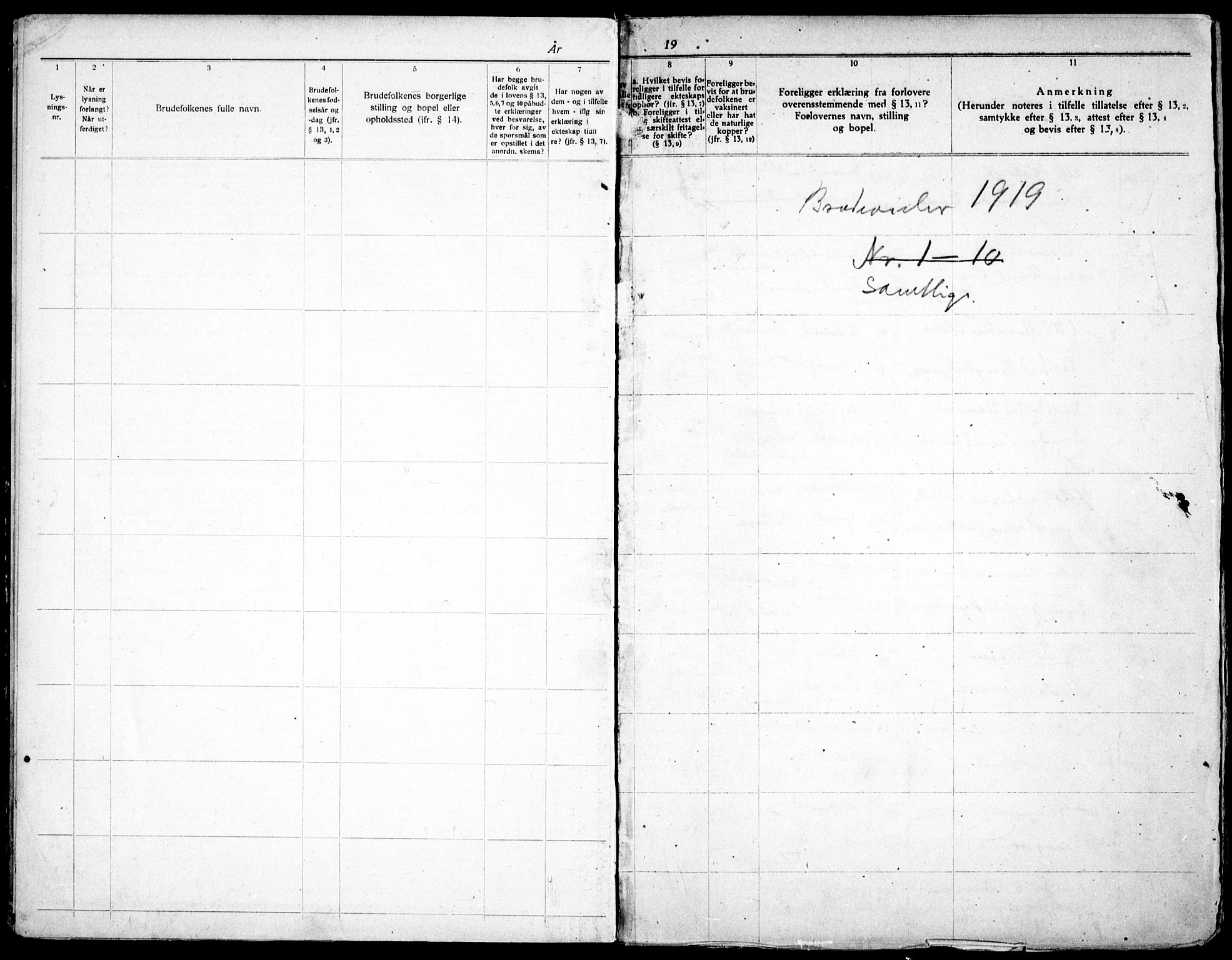 SAO, Skedsmo prestekontor Kirkebøker, H/Hc/L0001: Lysningsprotokoll nr. III 1, 1919-1938