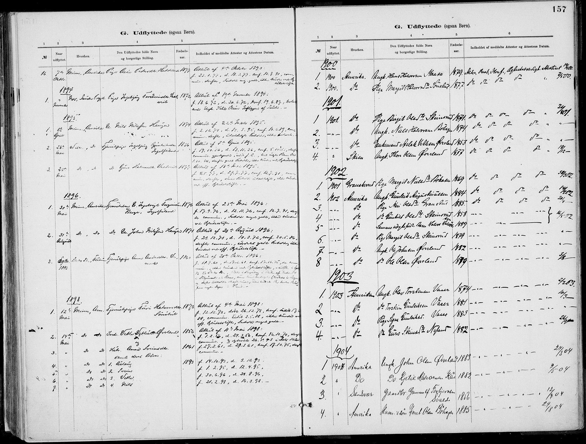 SAKO, Rjukan kirkebøker, F/Fa/L0001: Ministerialbok nr. 1, 1878-1912, s. 157