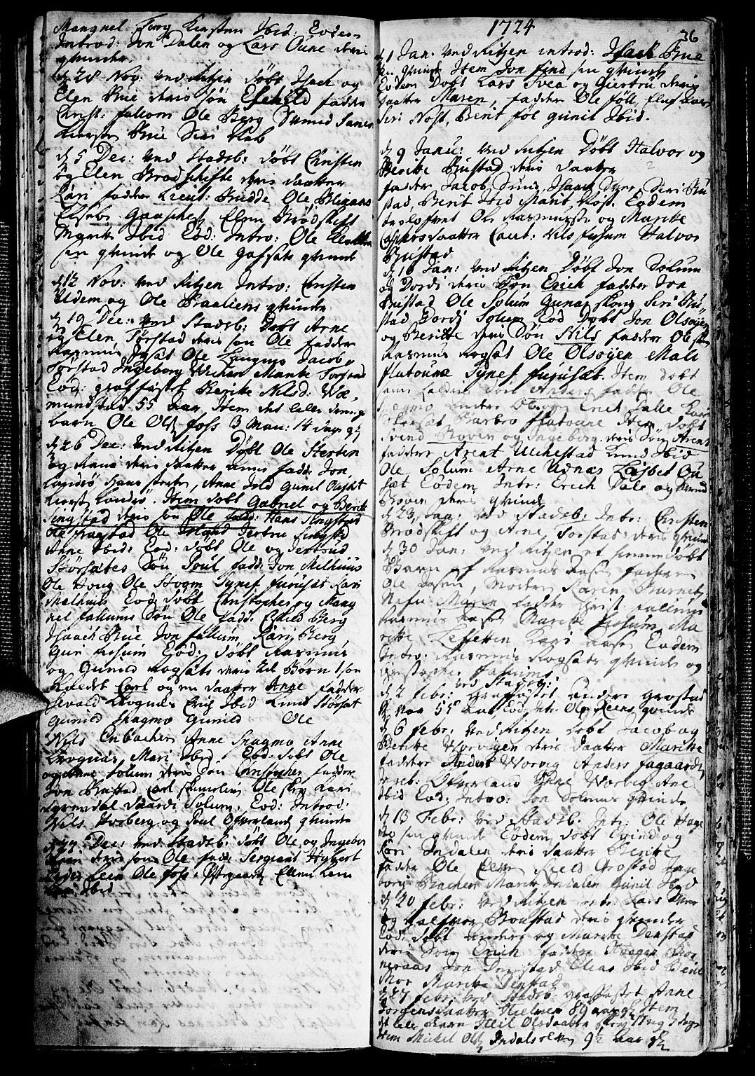 SAT, Ministerialprotokoller, klokkerbøker og fødselsregistre - Sør-Trøndelag, 646/L0603: Ministerialbok nr. 646A01, 1700-1734, s. 36
