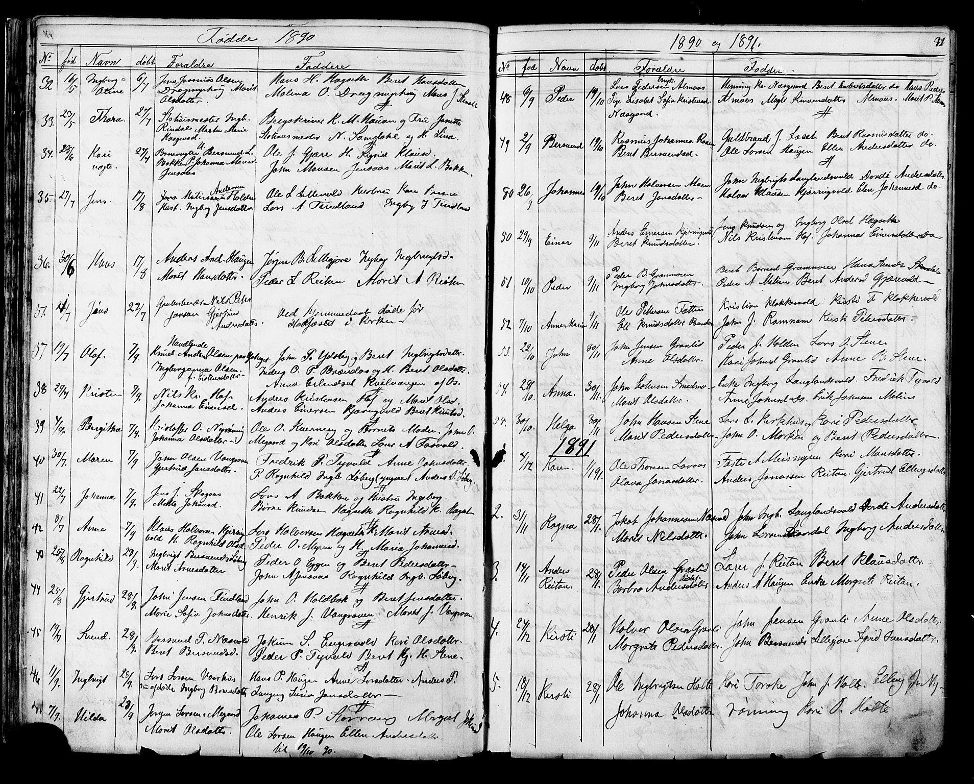 SAT, Ministerialprotokoller, klokkerbøker og fødselsregistre - Sør-Trøndelag, 686/L0985: Klokkerbok nr. 686C01, 1871-1933, s. 42