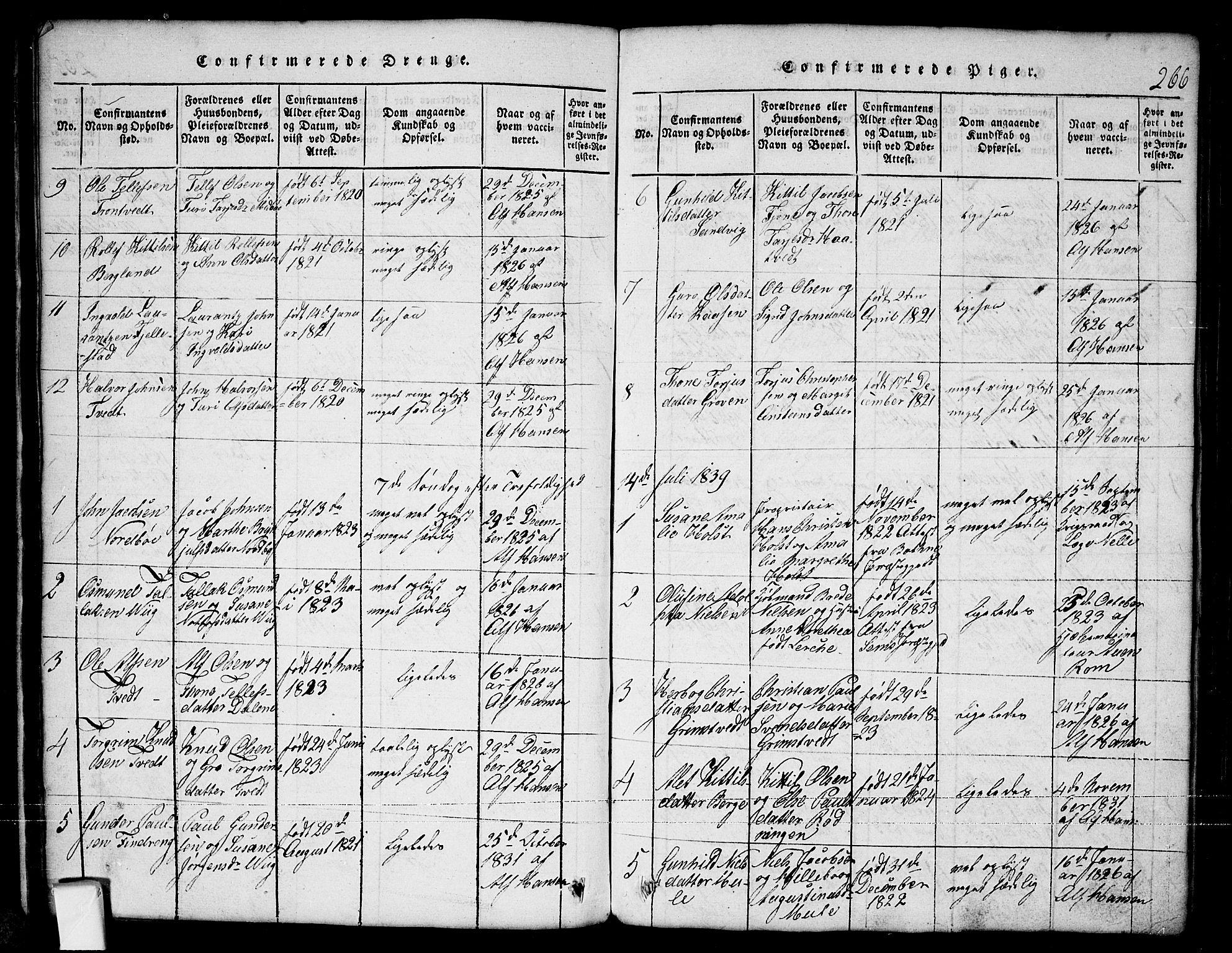 SAKO, Nissedal kirkebøker, G/Ga/L0001: Klokkerbok nr. I 1, 1814-1860, s. 266