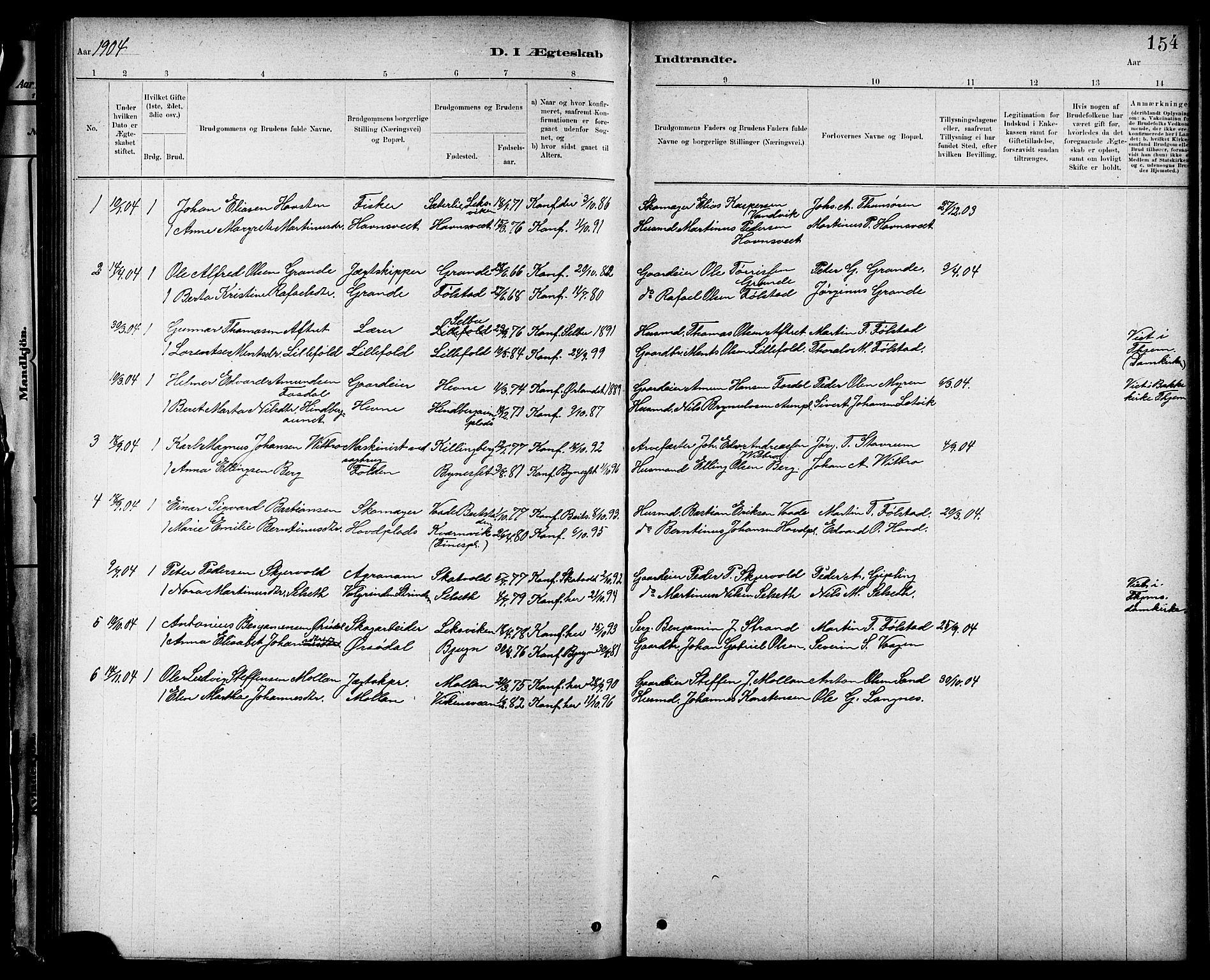 SAT, Ministerialprotokoller, klokkerbøker og fødselsregistre - Nord-Trøndelag, 744/L0423: Klokkerbok nr. 744C02, 1886-1905, s. 154