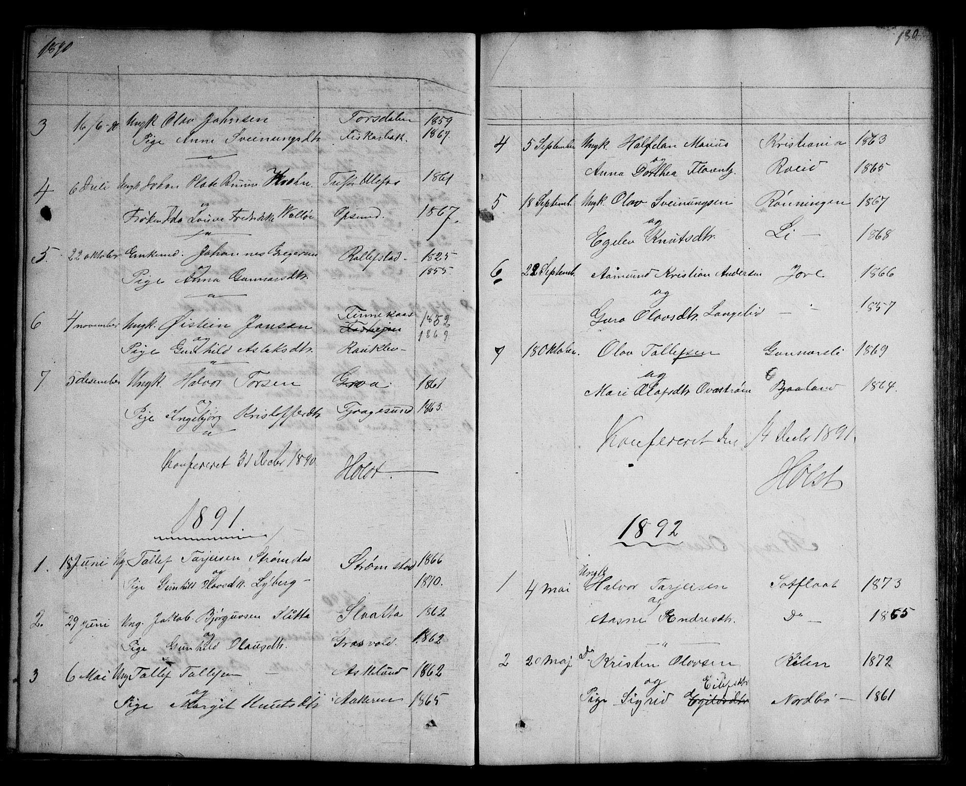 SAKO, Kviteseid kirkebøker, G/Ga/L0001: Klokkerbok nr. I 1, 1850-1893, s. 180