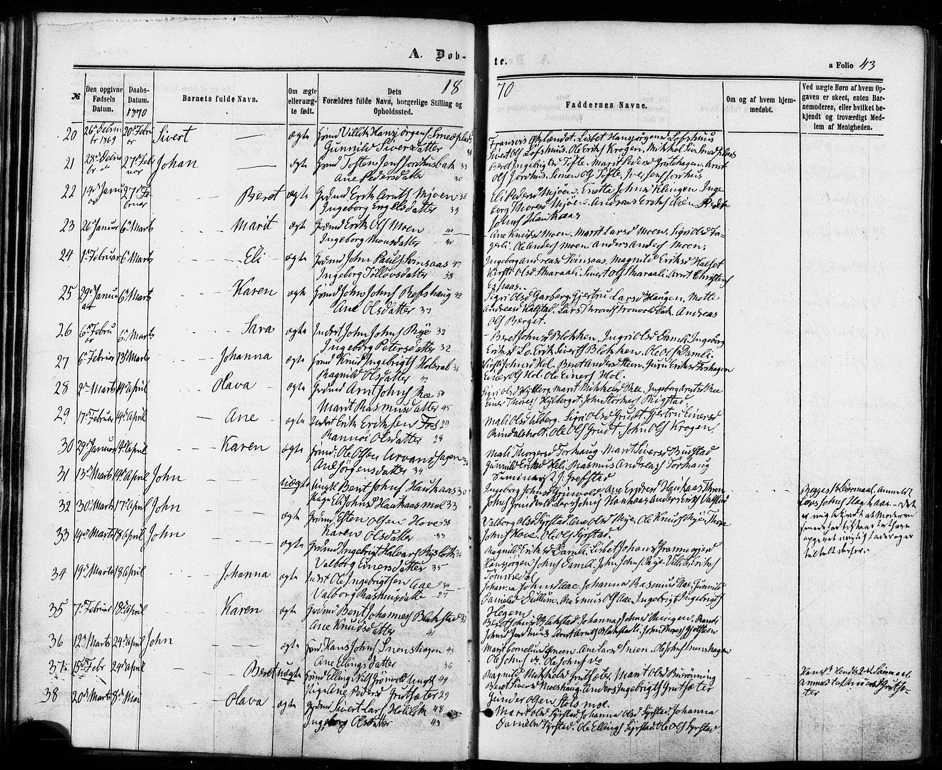 SAT, Ministerialprotokoller, klokkerbøker og fødselsregistre - Sør-Trøndelag, 672/L0856: Ministerialbok nr. 672A08, 1861-1881, s. 43