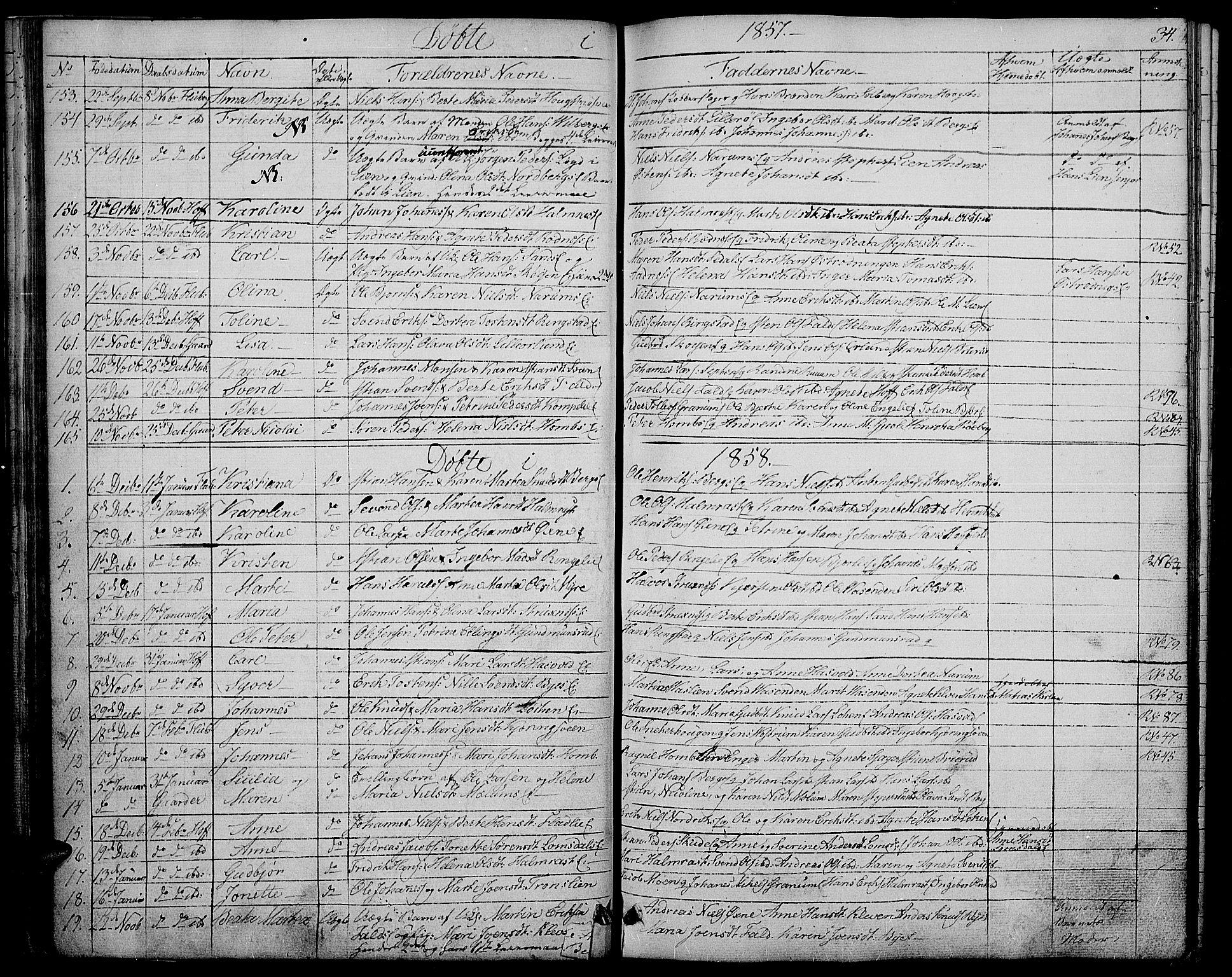 SAH, Søndre Land prestekontor, L/L0001: Klokkerbok nr. 1, 1849-1883, s. 34