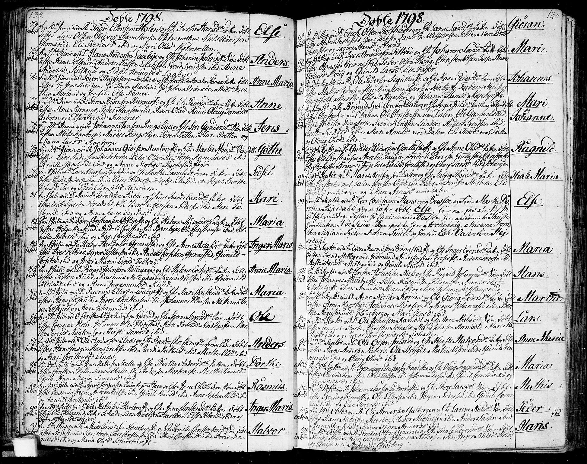 SAO, Rakkestad prestekontor Kirkebøker, F/Fa/L0005: Ministerialbok nr. I 5, 1784-1814, s. 134-135