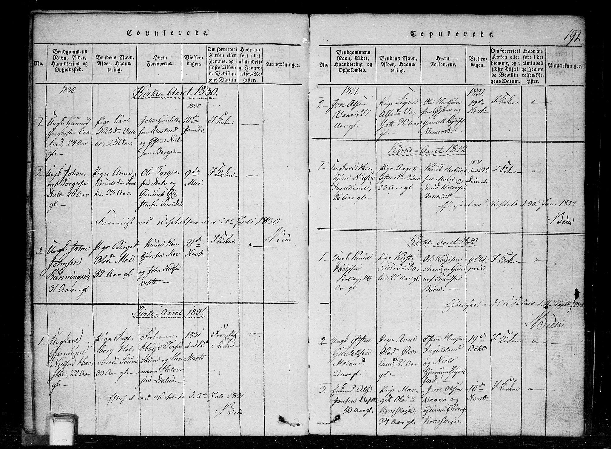 SAKO, Tinn kirkebøker, G/Gc/L0001: Klokkerbok nr. III 1, 1815-1879, s. 192