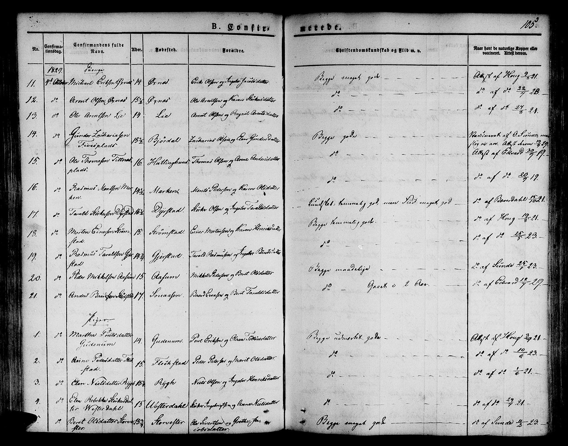 SAT, Ministerialprotokoller, klokkerbøker og fødselsregistre - Nord-Trøndelag, 746/L0445: Ministerialbok nr. 746A04, 1826-1846, s. 105