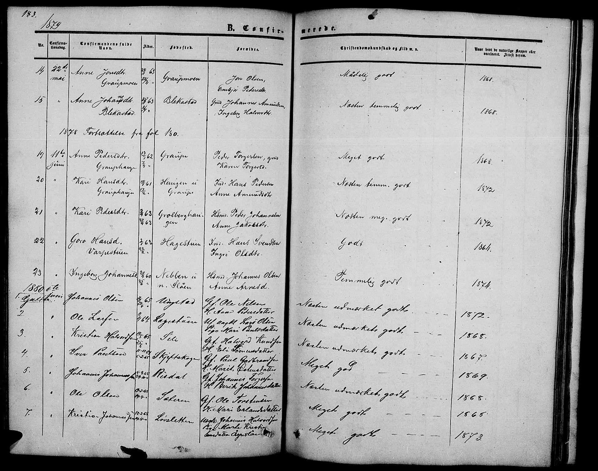 SAH, Nord-Fron prestekontor, Klokkerbok nr. 2, 1851-1883, s. 183