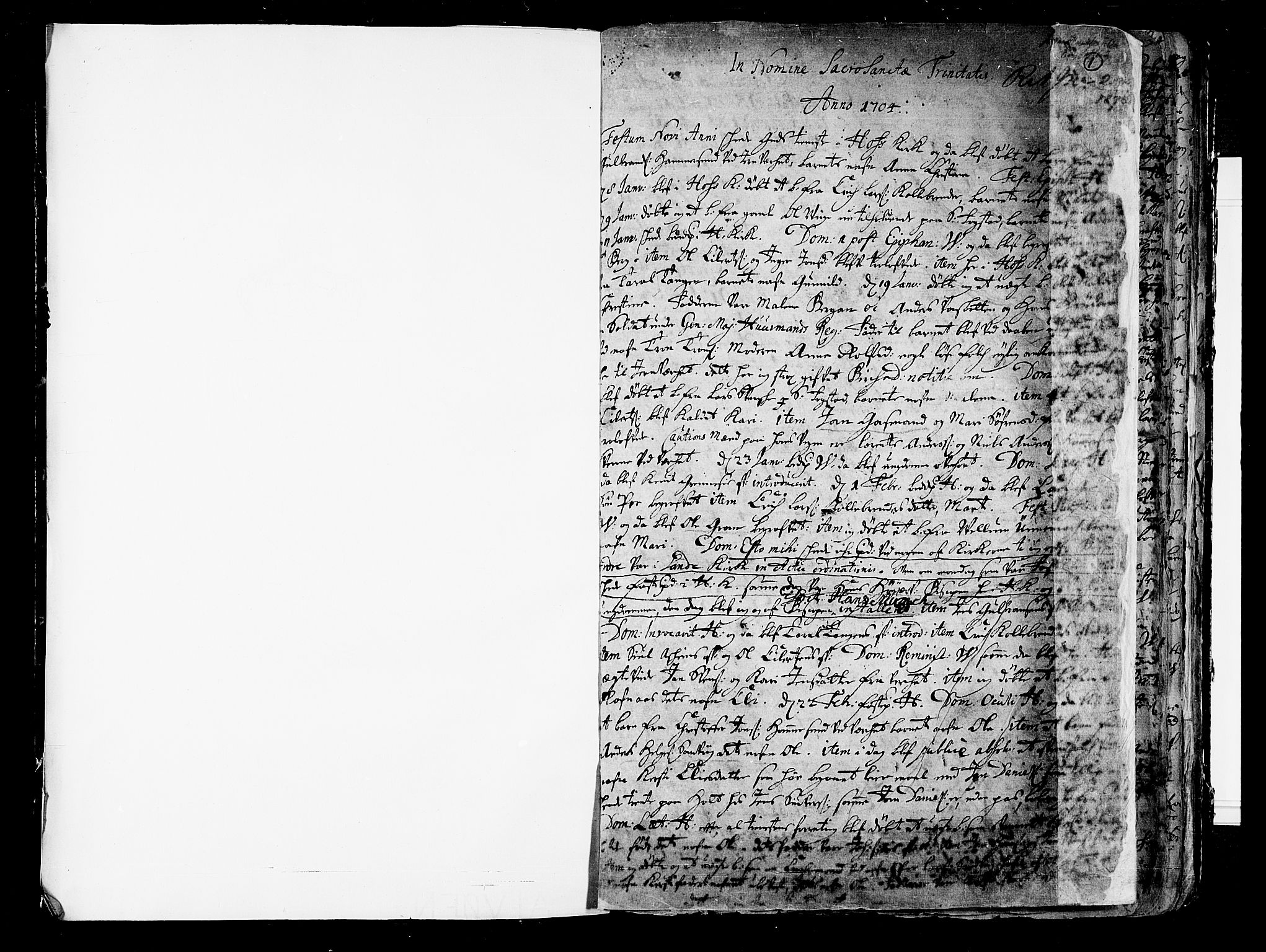 SAKO, Hof kirkebøker, F/Fa/L0001: Ministerialbok nr. I 1, 1704-1745, s. 1