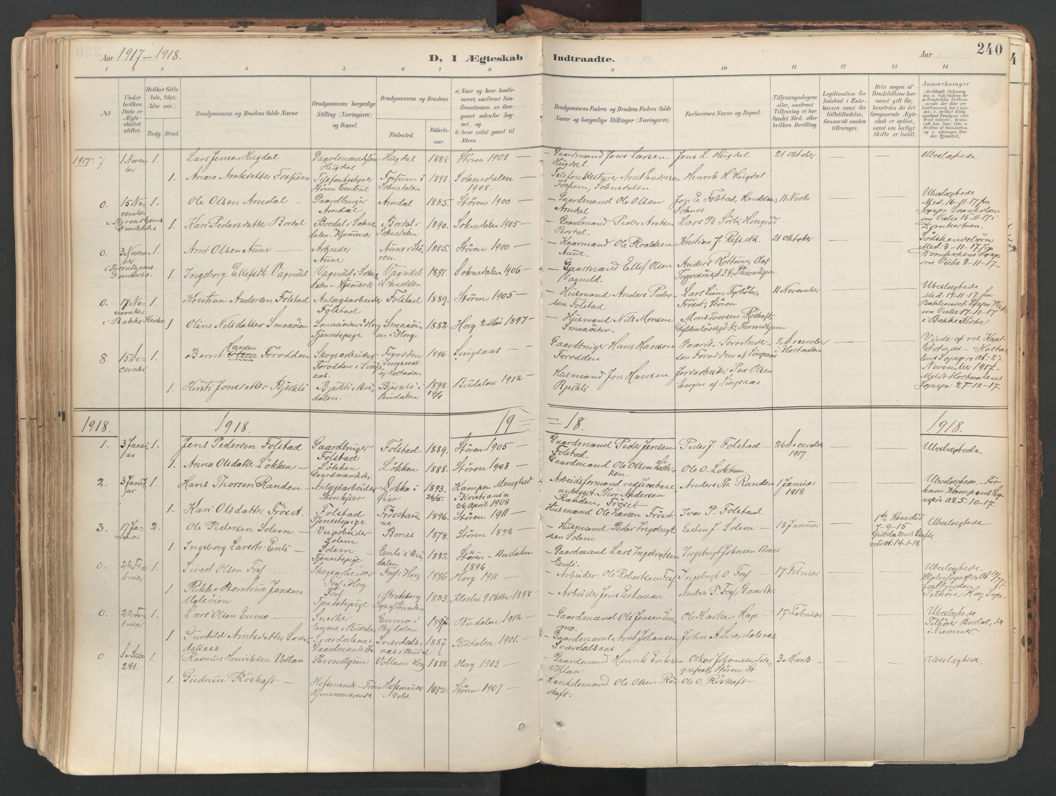 SAT, Ministerialprotokoller, klokkerbøker og fødselsregistre - Sør-Trøndelag, 687/L1004: Ministerialbok nr. 687A10, 1891-1923, s. 240