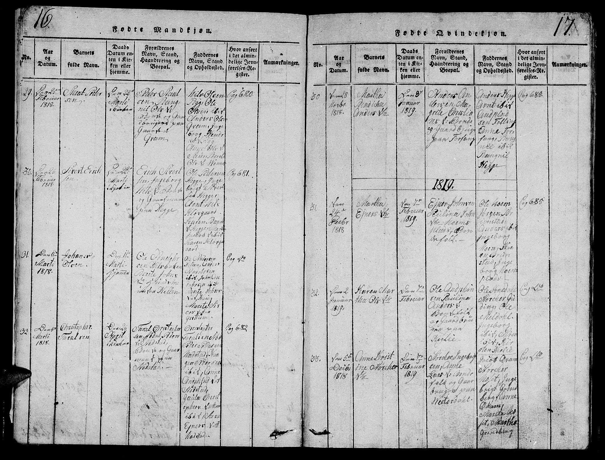 SAT, Ministerialprotokoller, klokkerbøker og fødselsregistre - Nord-Trøndelag, 747/L0459: Klokkerbok nr. 747C01, 1816-1842, s. 16-17